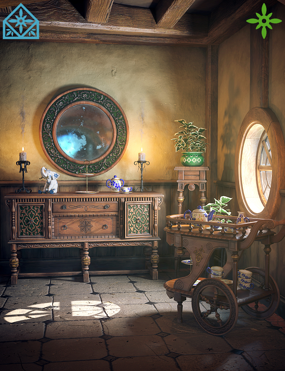 ROG Fantasy Home - Hallway Furniture Set by: StrangefateRoguey, 3D Models by Daz 3D