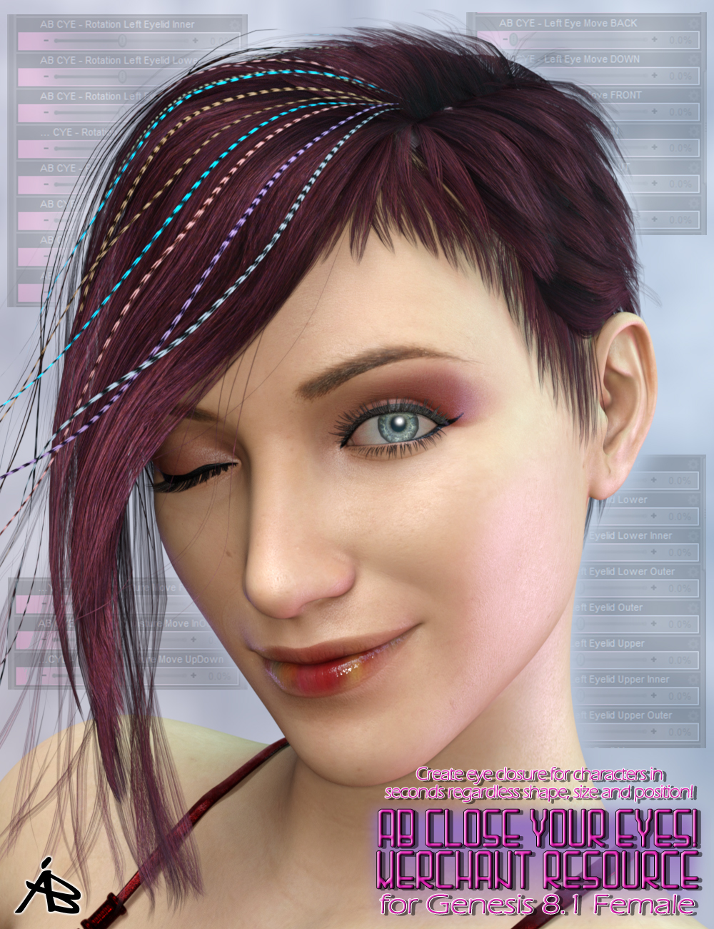 AB Close Your Eyes! for Genesis 8.1 Female (MR) by: AuraBianca, 3D Models by Daz 3D