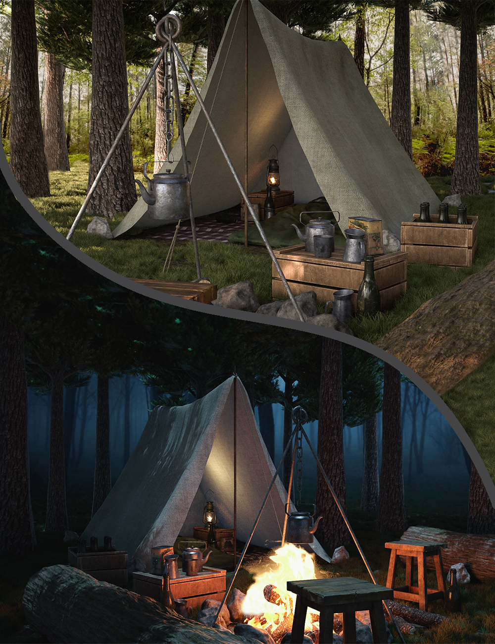Camping Time by: 3dLab, 3D Models by Daz 3D