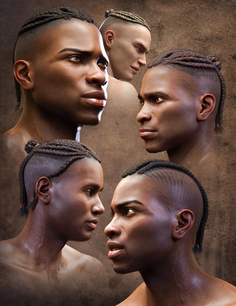 Corn Row Hair Set for Genesis 8.1 and Genesis 8 Males by: Matari3D, 3D Models by Daz 3D