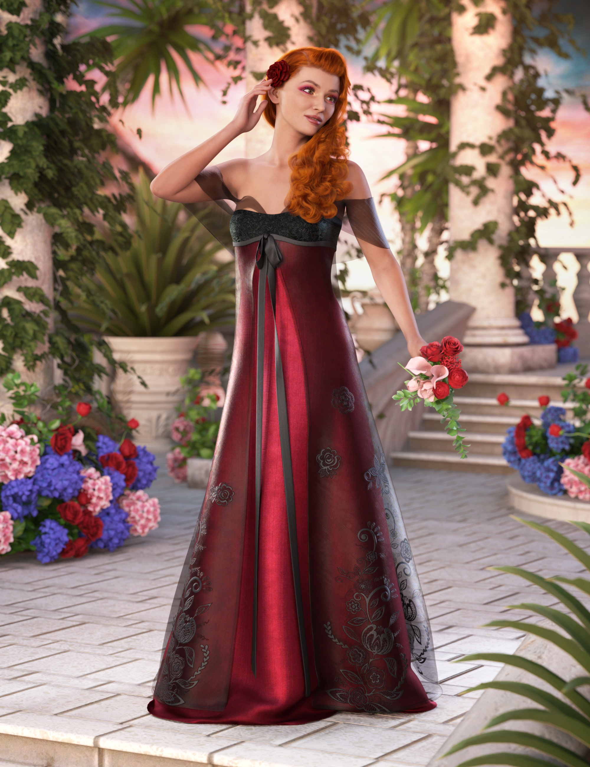 dForce Enchanted Splendor for Genesis 8 and 8.1 Females by: Barbara BrundonSade, 3D Models by Daz 3D
