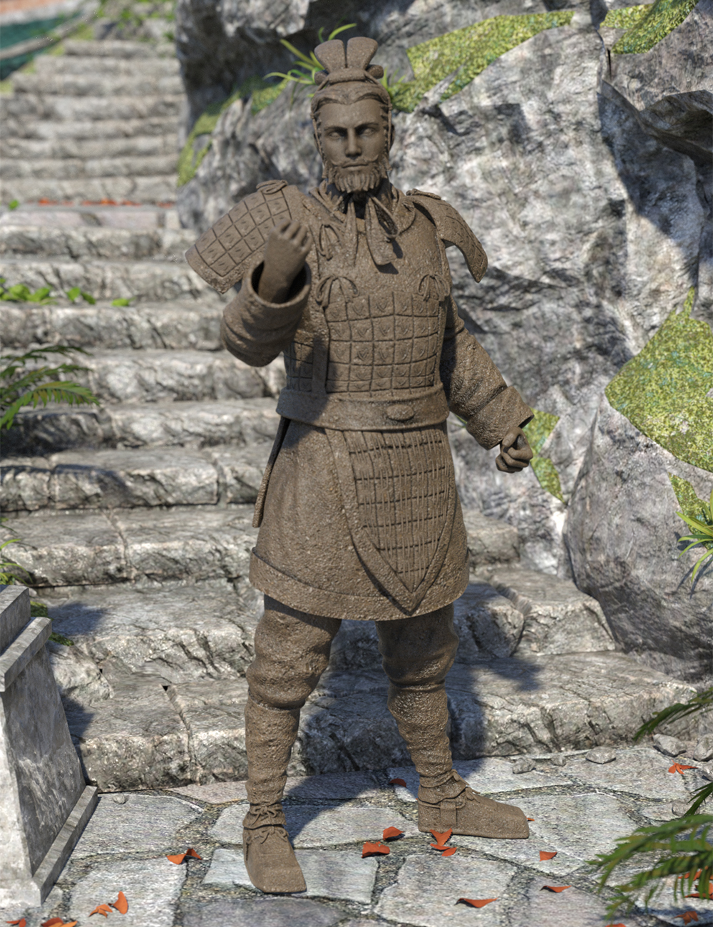 The Action General Terracotta Warrior for Genesis 8.1 Male and Michael 8.1 by: Jerry Jang, 3D Models by Daz 3D