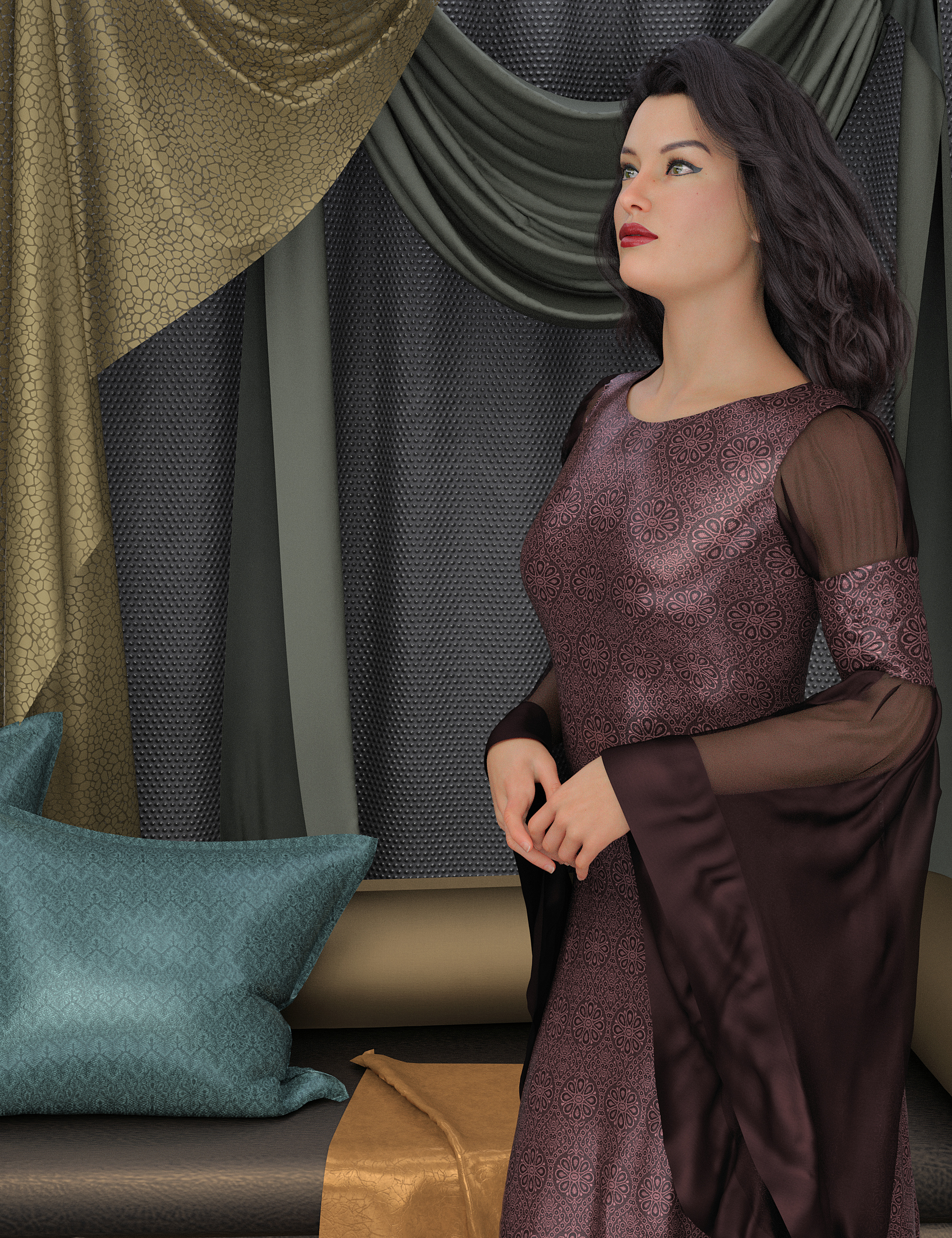 Dark Worlds Fabric Shaders by: Khory, 3D Models by Daz 3D
