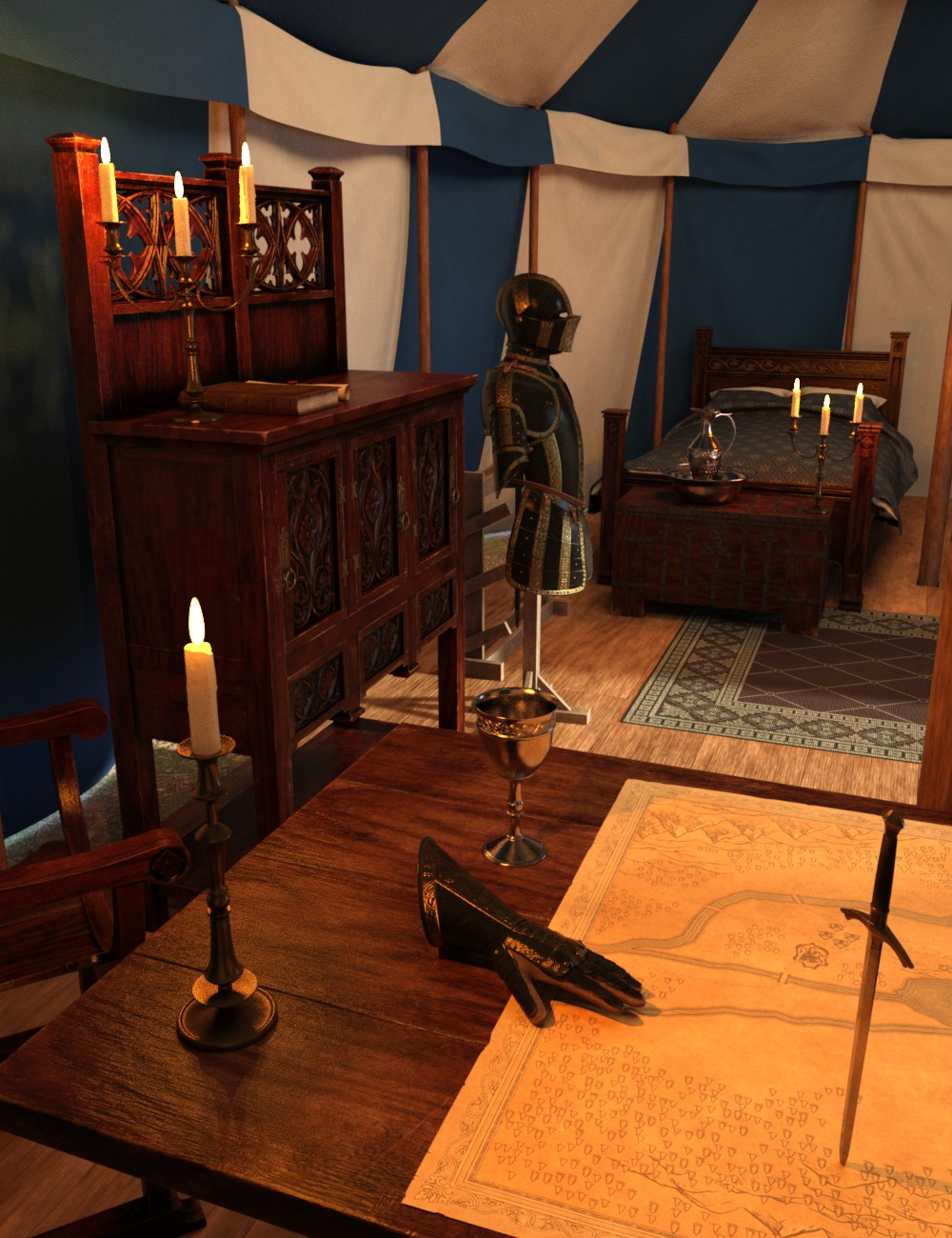Commander's Tent Furniture and Things by: Goriav, 3D Models by Daz 3D