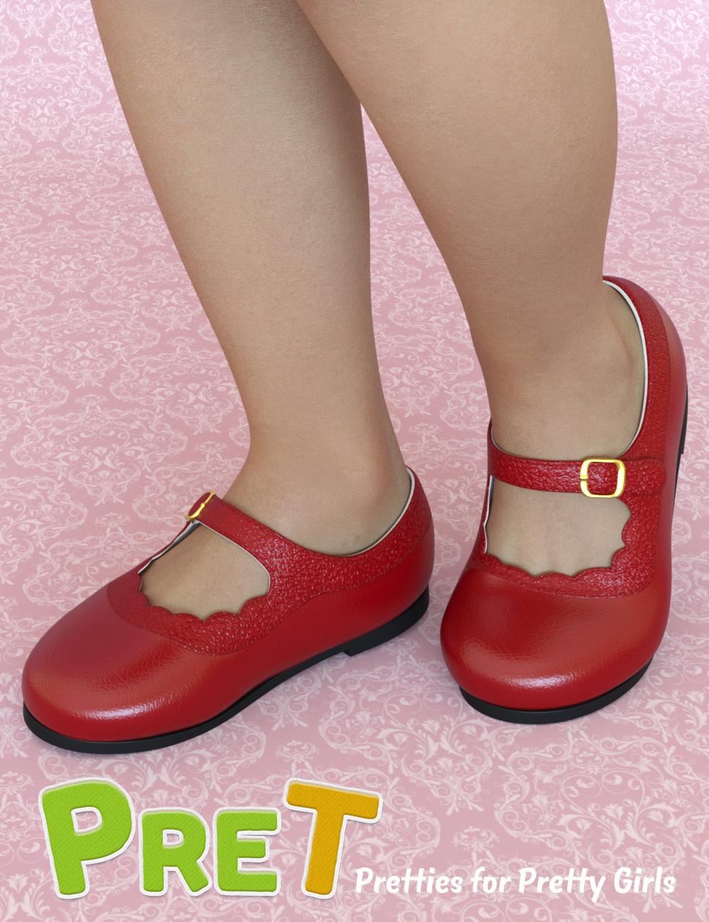 PreT Girls Strap Shoes for Genesis 8 Females by: elleque, 3D Models by Daz 3D
