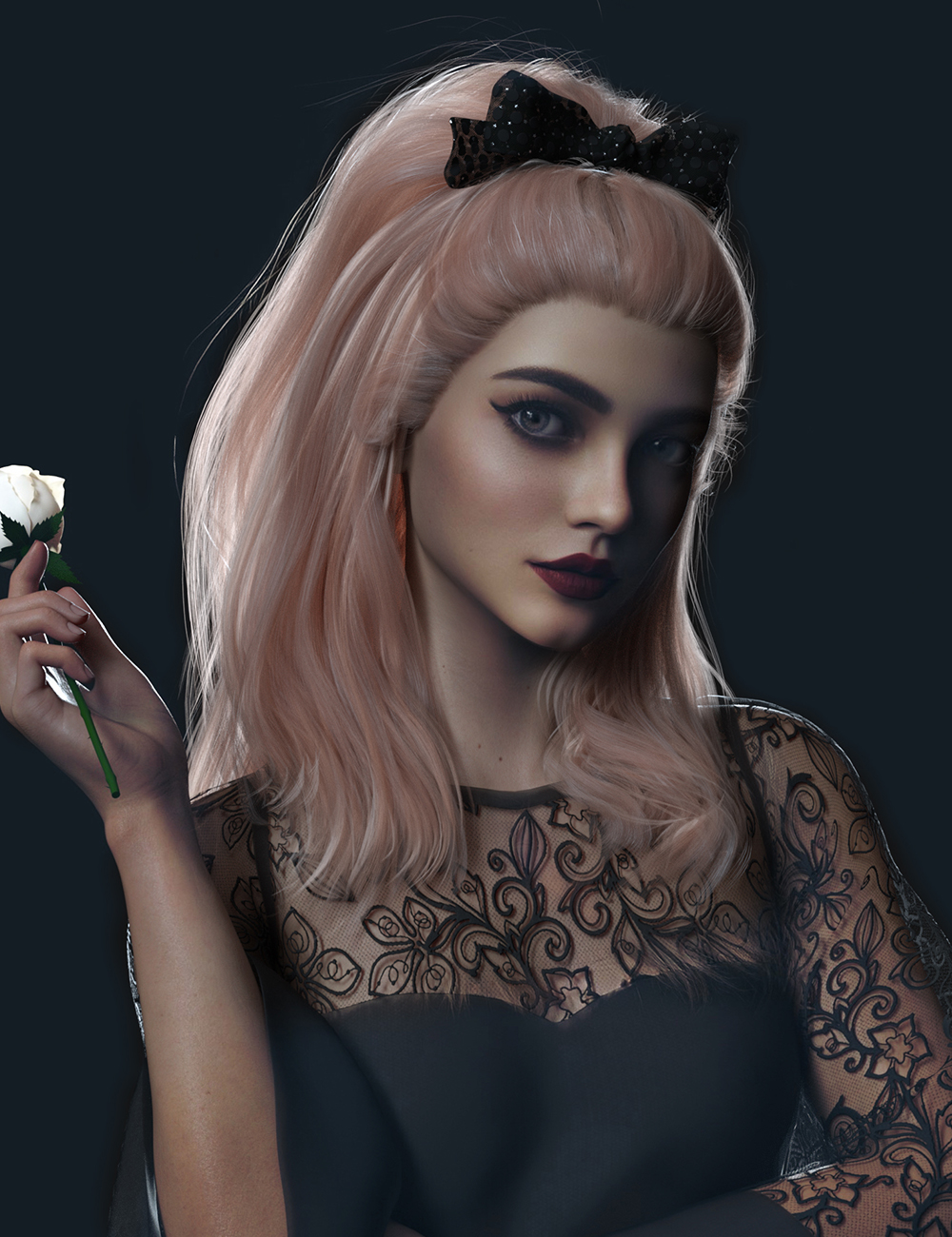 Ribbon Ferreira Hair for Genesis 8 and 8.1 Females by: Nirvana, 3D Models by Daz 3D