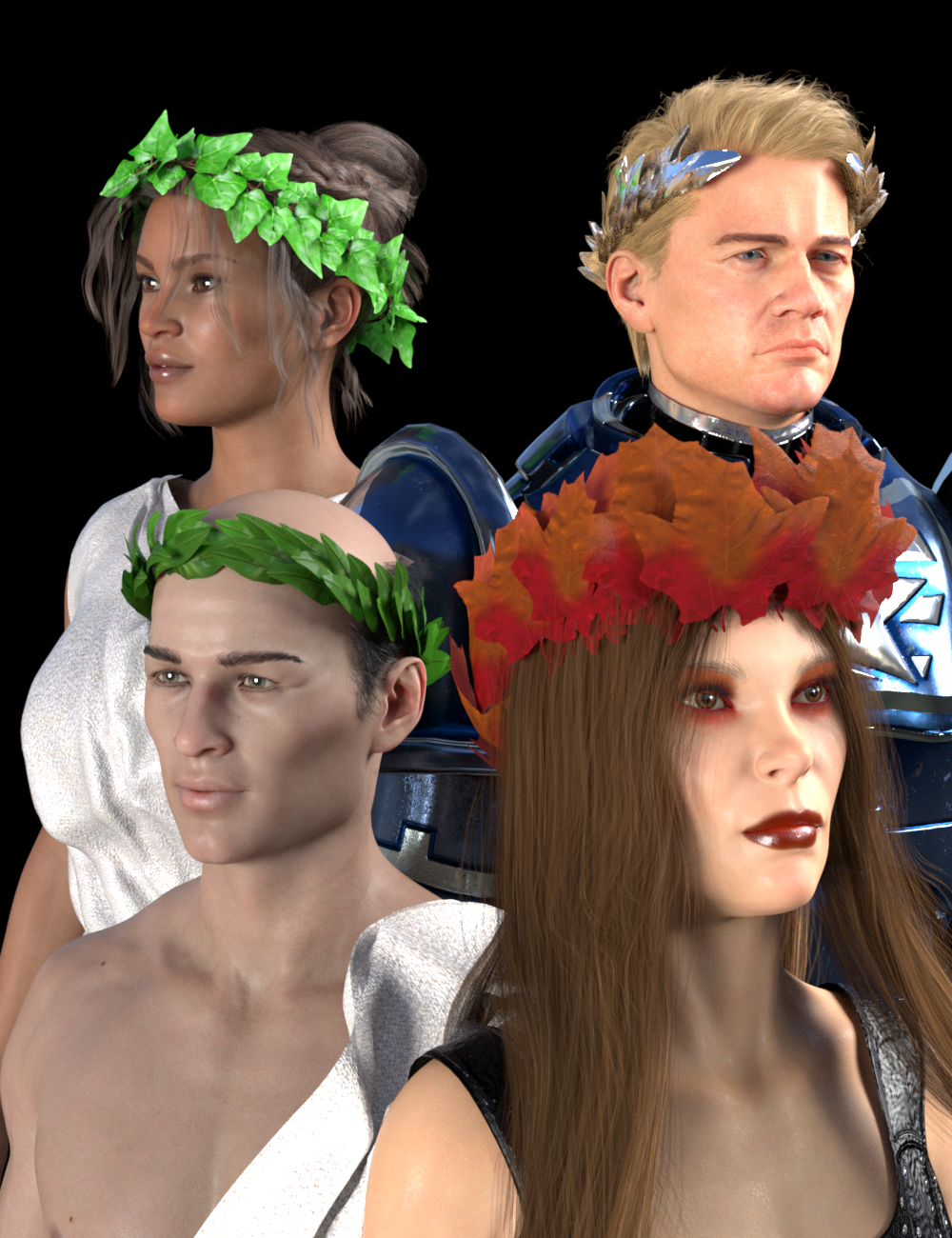 SY Leafy Crowns for Genesis 8 and 8.1 by: Sickleyield, 3D Models by Daz 3D