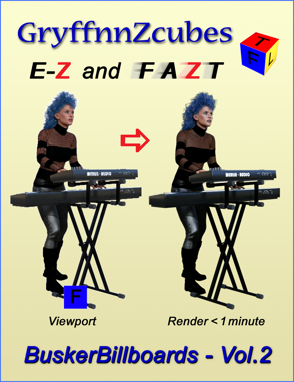 GryffnnZcube Busker Billboards - Volume 2 by: gryffnn / Elisa Griffin, 3D Models by Daz 3D