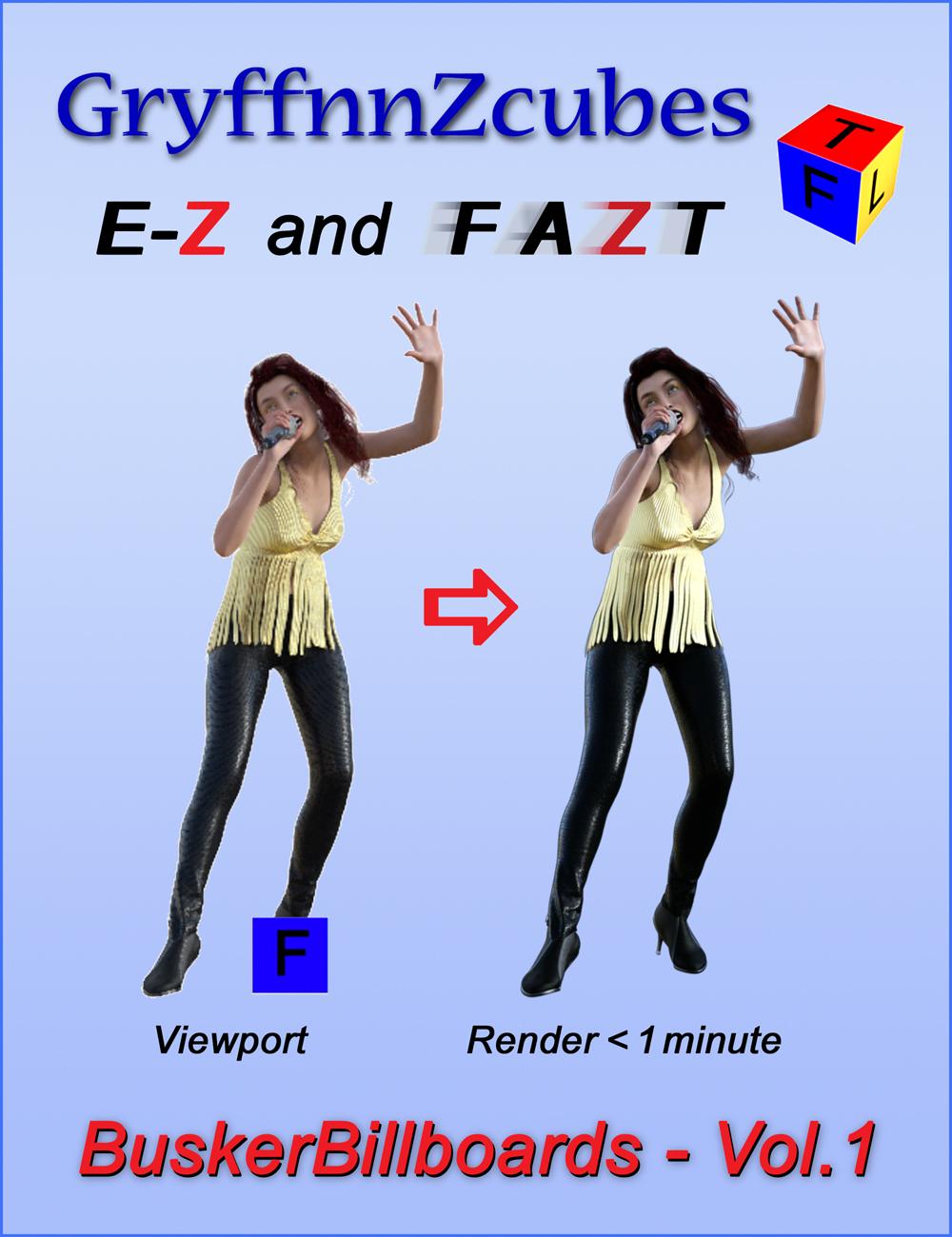 GryffnnZcube Busker Billboards - Volume 1 by: gryffnn / Elisa Griffin, 3D Models by Daz 3D
