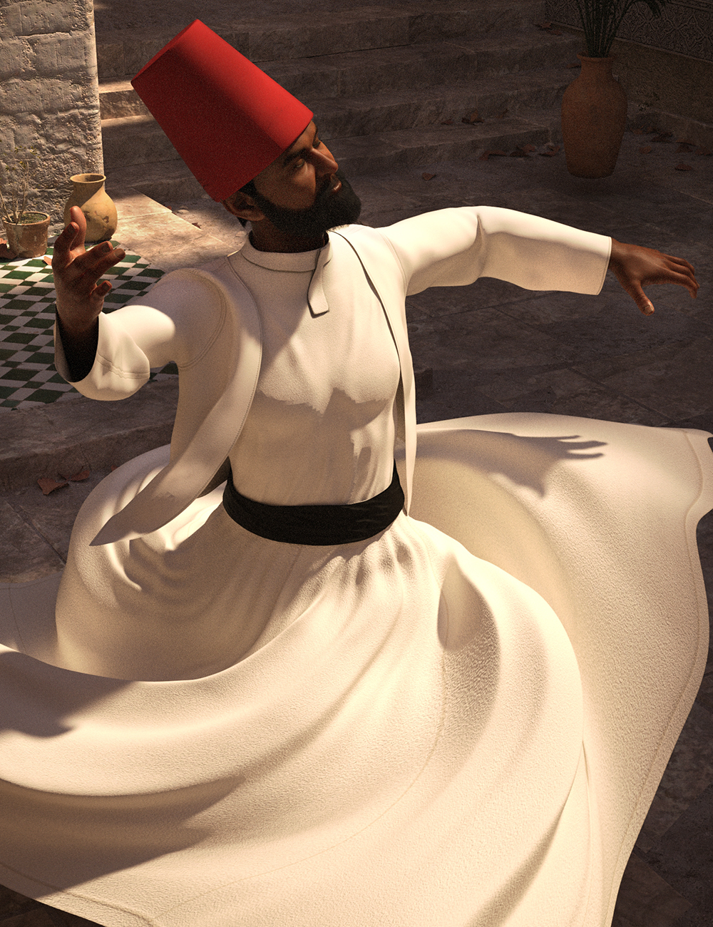 dForce Whirling Dervish Outfit for Genesis 8 Males by: Meshitup, 3D Models by Daz 3D