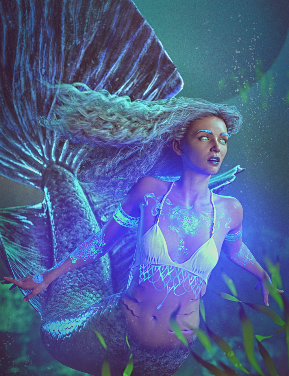 Siren Soul: Bioluminous Tattoos for Genesis 8 and 8.1 Female and Coral 8.1 by: Skyewolf, 3D Models by Daz 3D