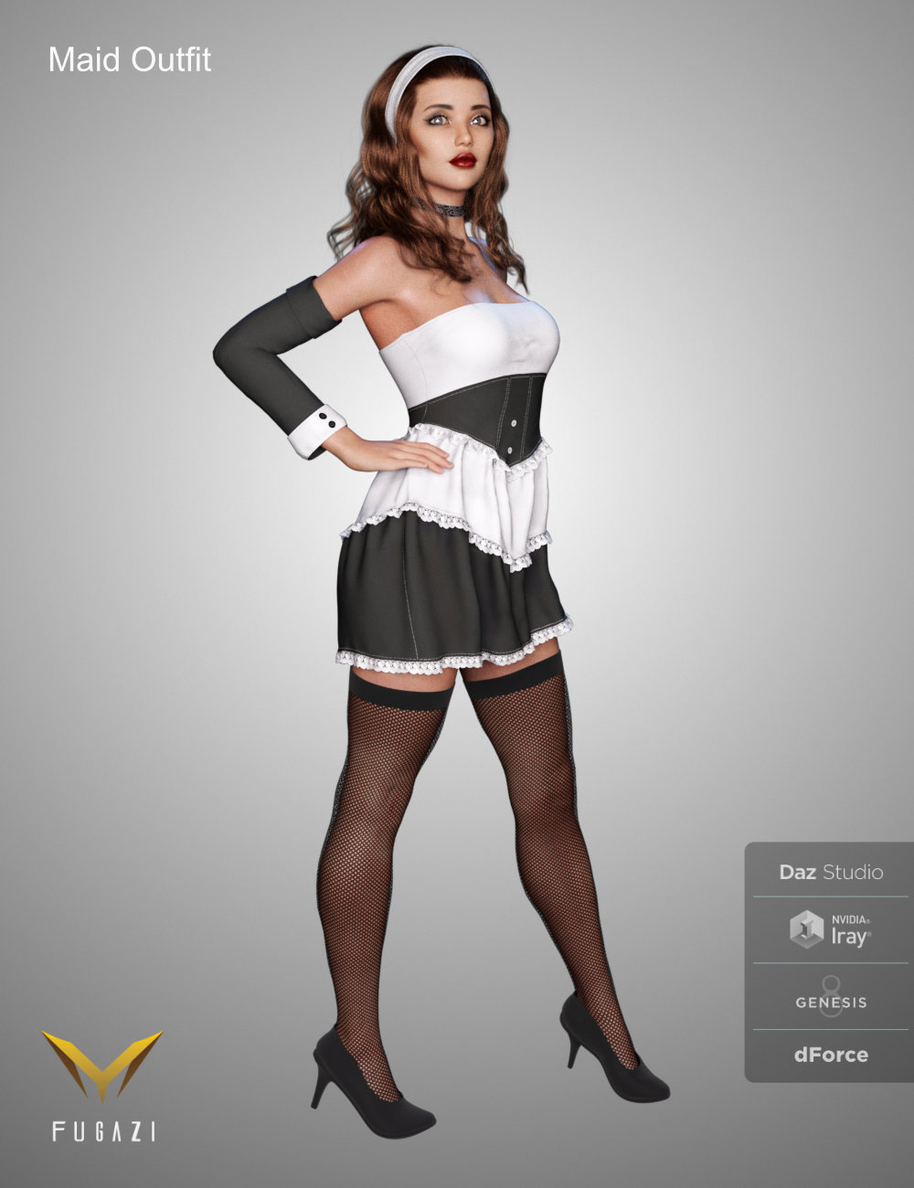 FG Maid Outfit for Genesis 8 Females by: Fugazi1968Ironman, 3D Models by Daz 3D