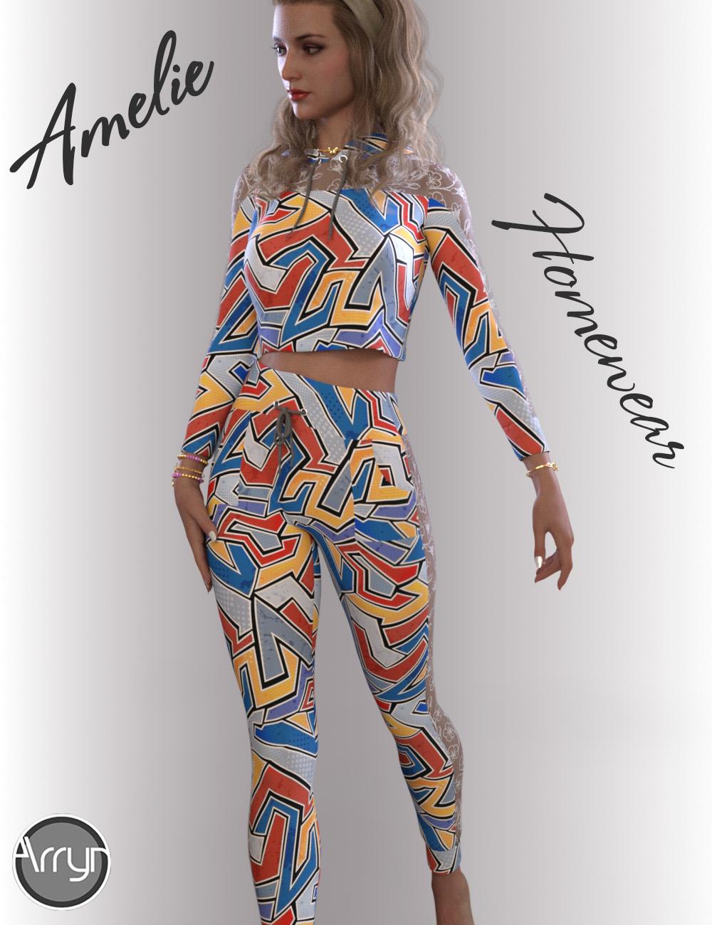 dForce Amelie Homewear for Genesis 8.1 Females by: OnnelArryn, 3D Models by Daz 3D