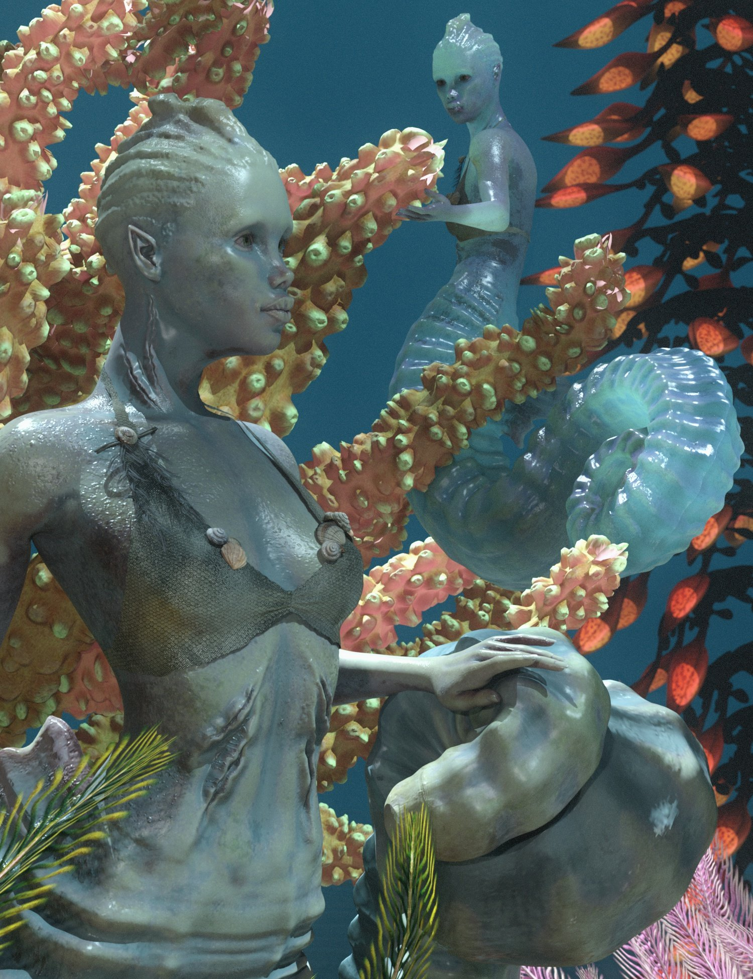 SeaHorse Coralia for Genesis 8.1 Female and for Seahorse Tails by: 3D-GHDesignSadeAe Ti, 3D Models by Daz 3D