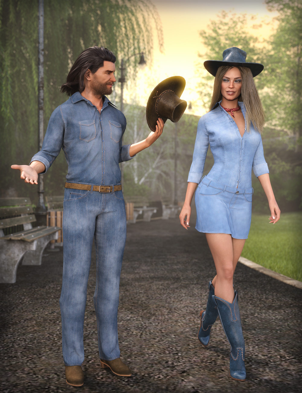 MD dForce Classic Jeans Outfit for Genesis 8 and 8.1 Bundle by: MikeD, 3D Models by Daz 3D