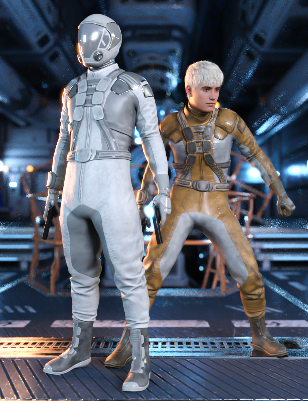 Sci-Fi Gravity Suit Outfit for Genesis 8 and 8.1 Males by: Yura, 3D Models by Daz 3D