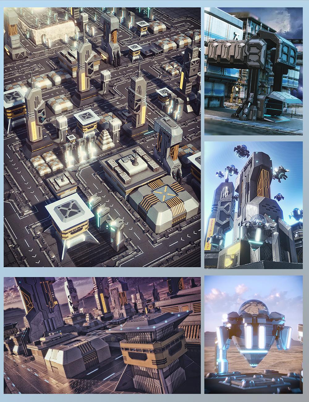 X-BIT Future Space City Bundle by: X-BIT, 3D Models by Daz 3D