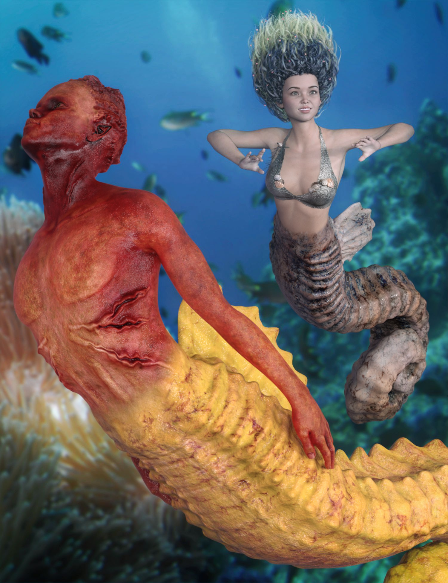 SeaHorse MegaBundle for Genesis 8.1 and for Seahorse Tails by: 3D-GHDesignSadeAe Ti, 3D Models by Daz 3D