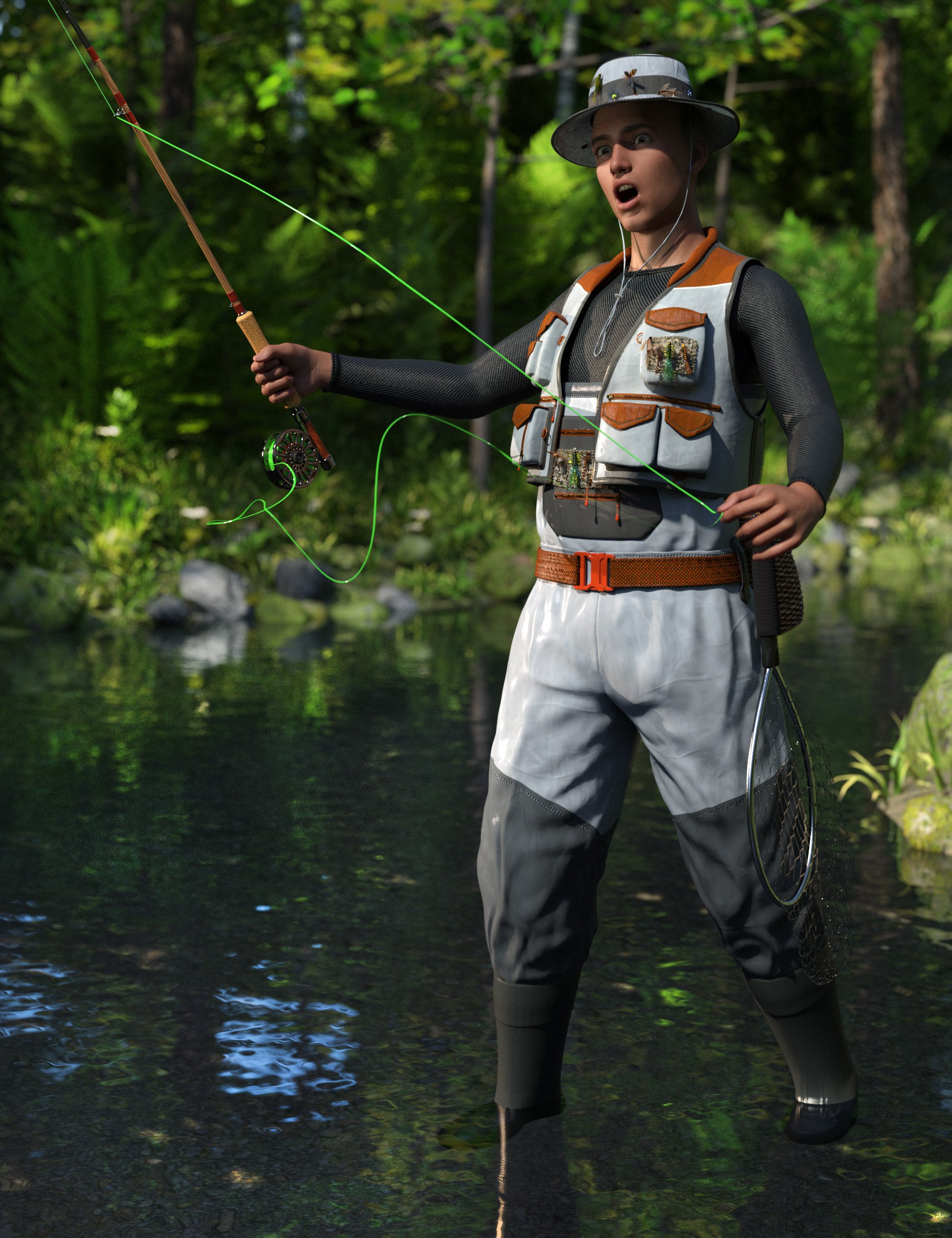 Angler Outfit for Genesis 8 Males by: The Alchemist, 3D Models by Daz 3D