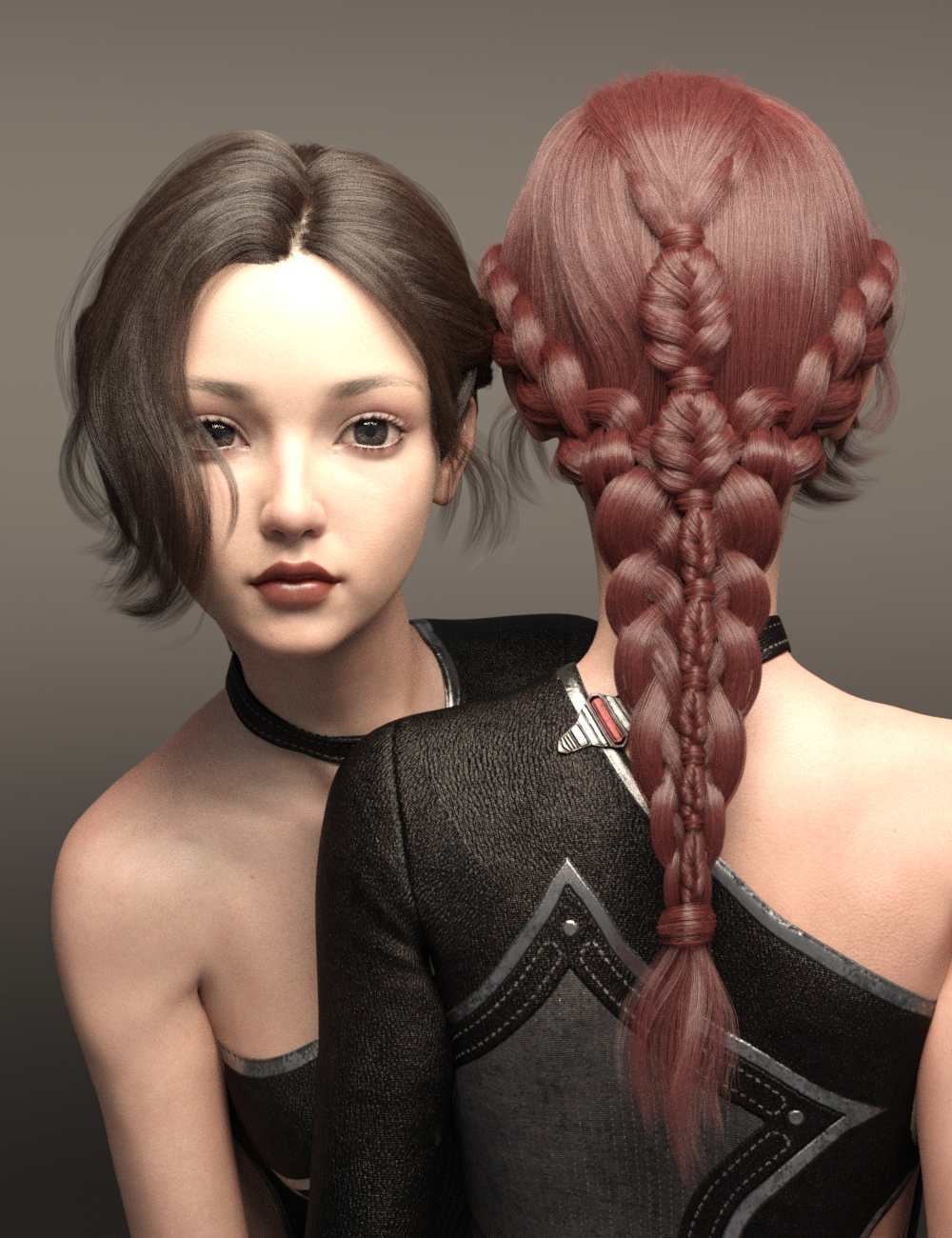 Cui and Cui Hair with Expressions for Genesis 8.1 Female by: Ergou, 3D Models by Daz 3D