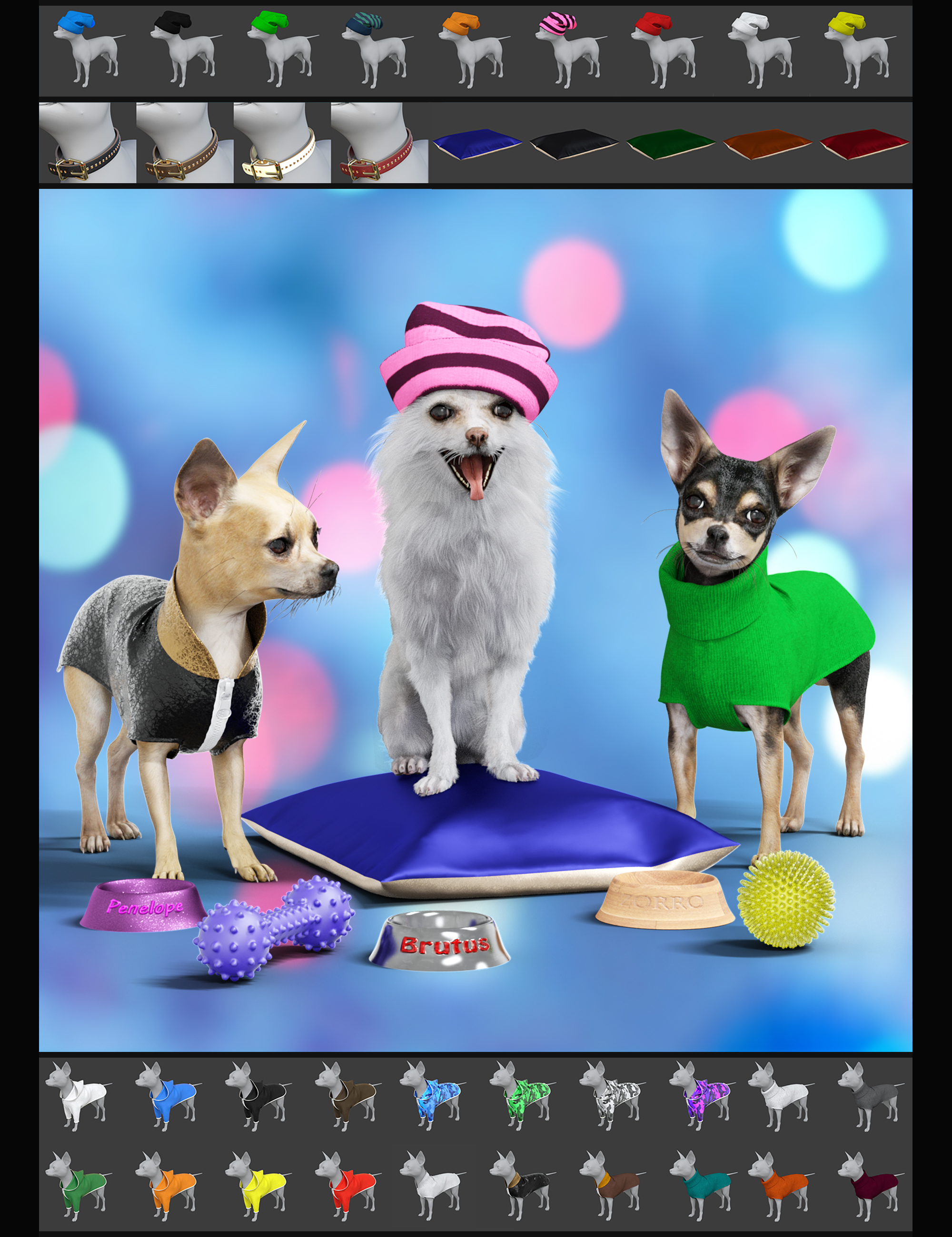 The Chihuahua Mega-Bundle for Daz Dog 8 by: Alessandro_AMLMX3D, 3D Models by Daz 3D