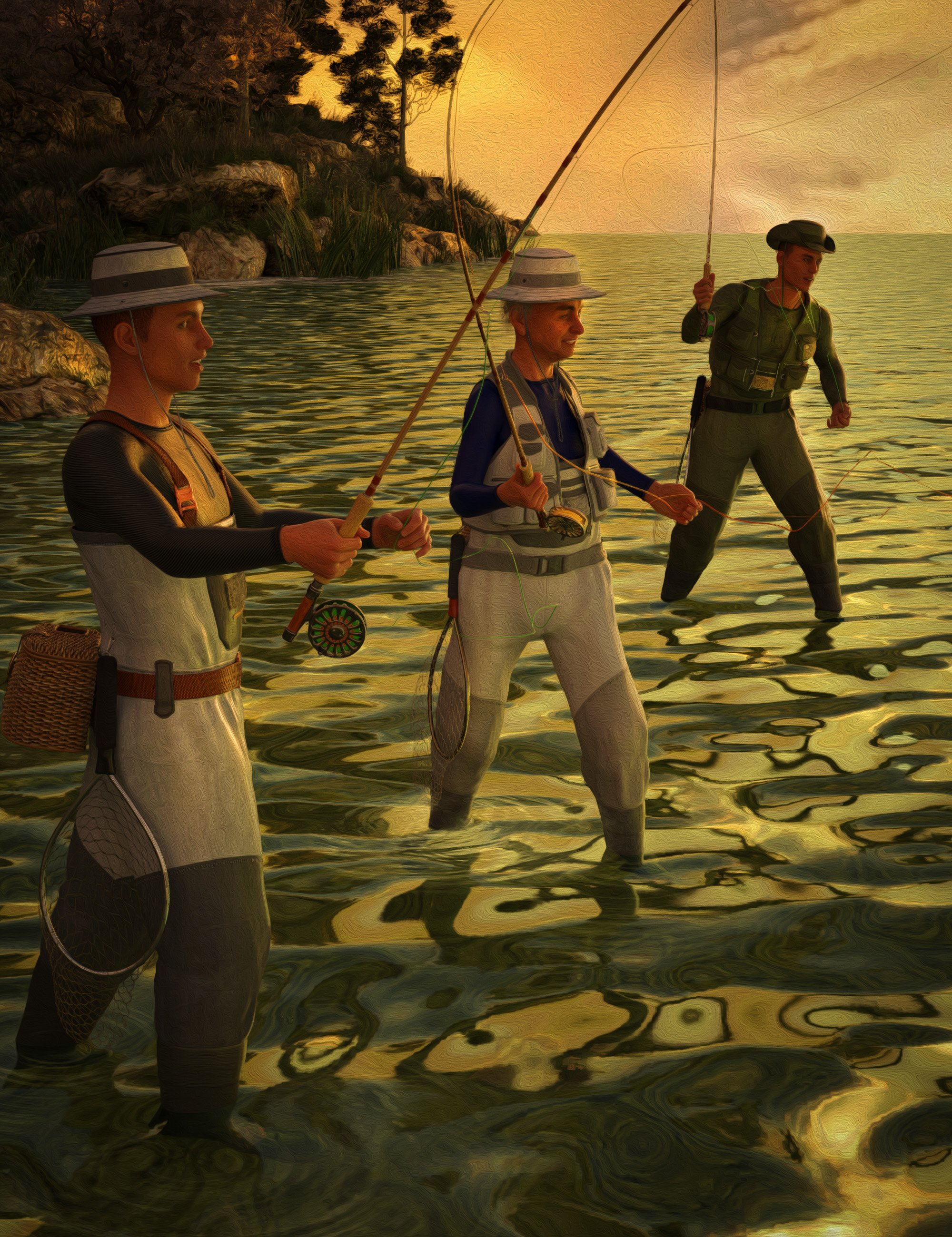 Fly Fishing Poses for Genesis 8 Males by: The Alchemist, 3D Models by Daz 3D