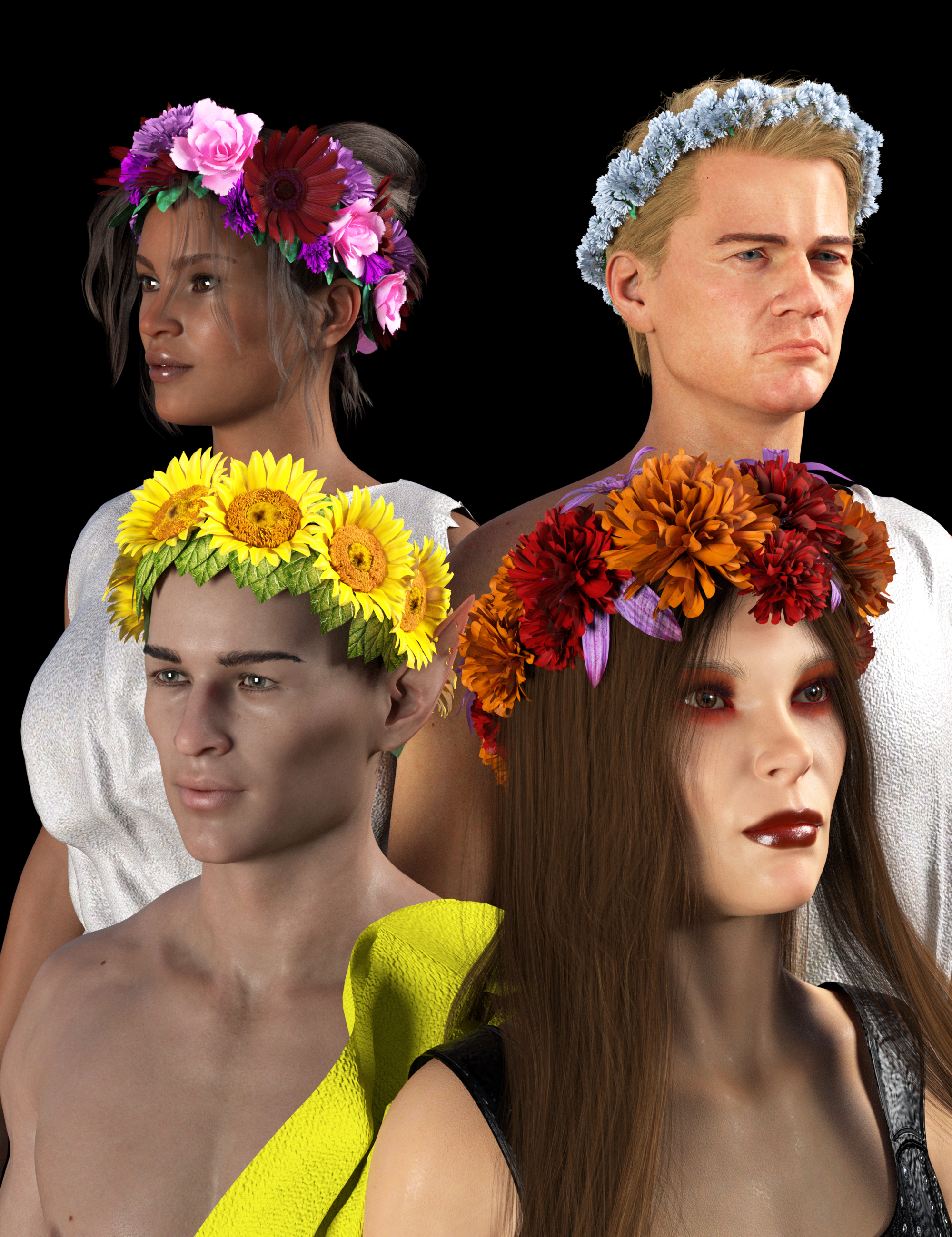 SY Flower Crowns for Genesis 8 and 8.1 by: Sickleyield, 3D Models by Daz 3D