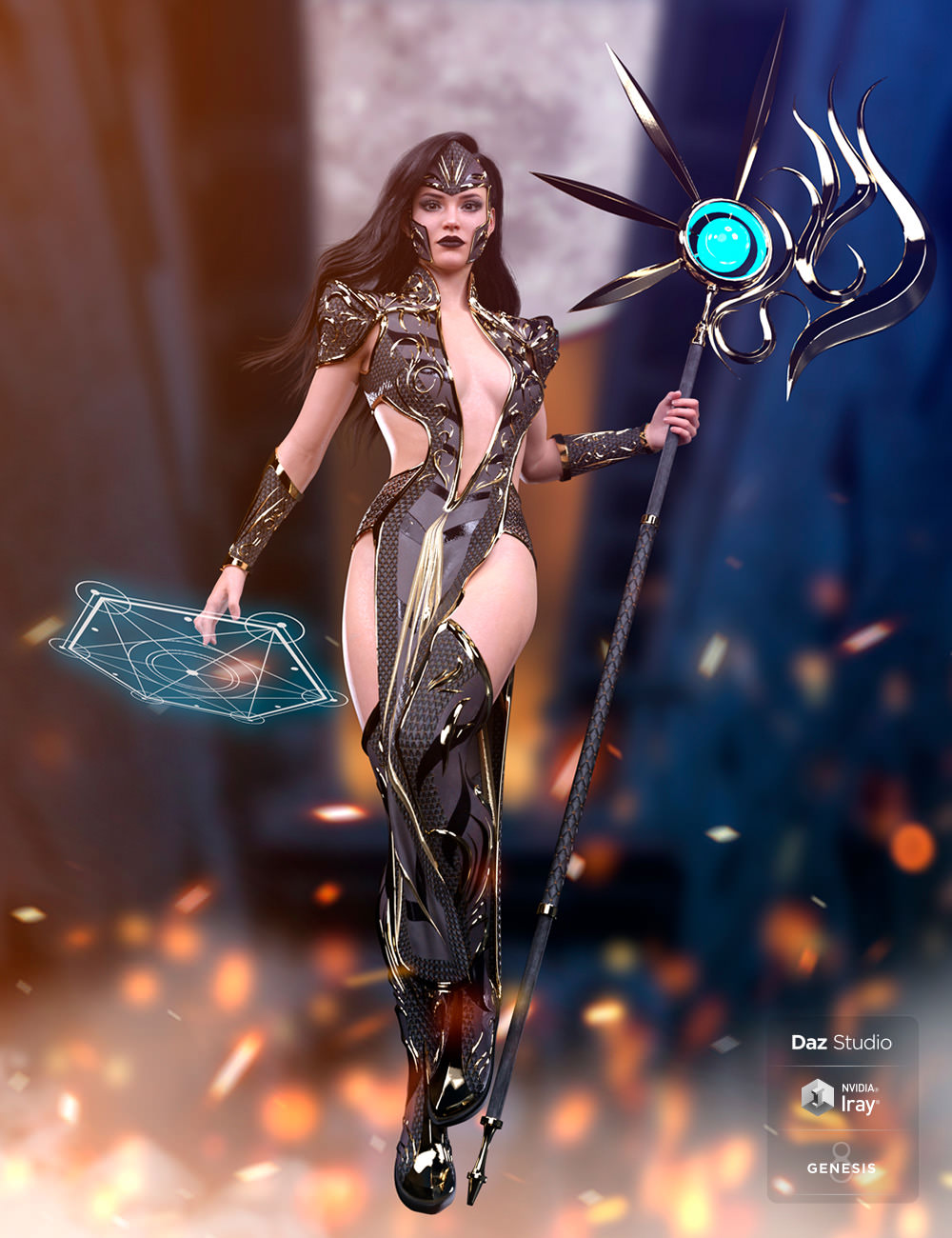dForce Ember Caller Outfit for Genesis 8 and 8.1 Females by: NycTechie, 3D Models by Daz 3D