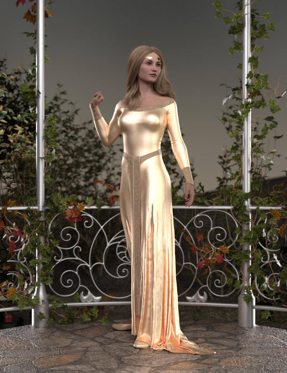 dForce Elven Dress for Genesis 8 and 8.1 Females by: TMDesign, 3D Models by Daz 3D