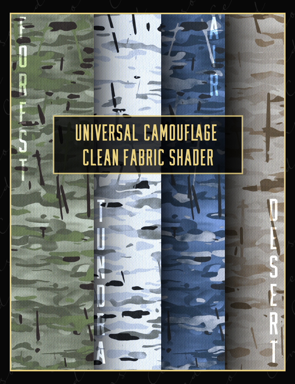 Universal Camouflage Clean Fabric Shader by: Censored, 3D Models by Daz 3D