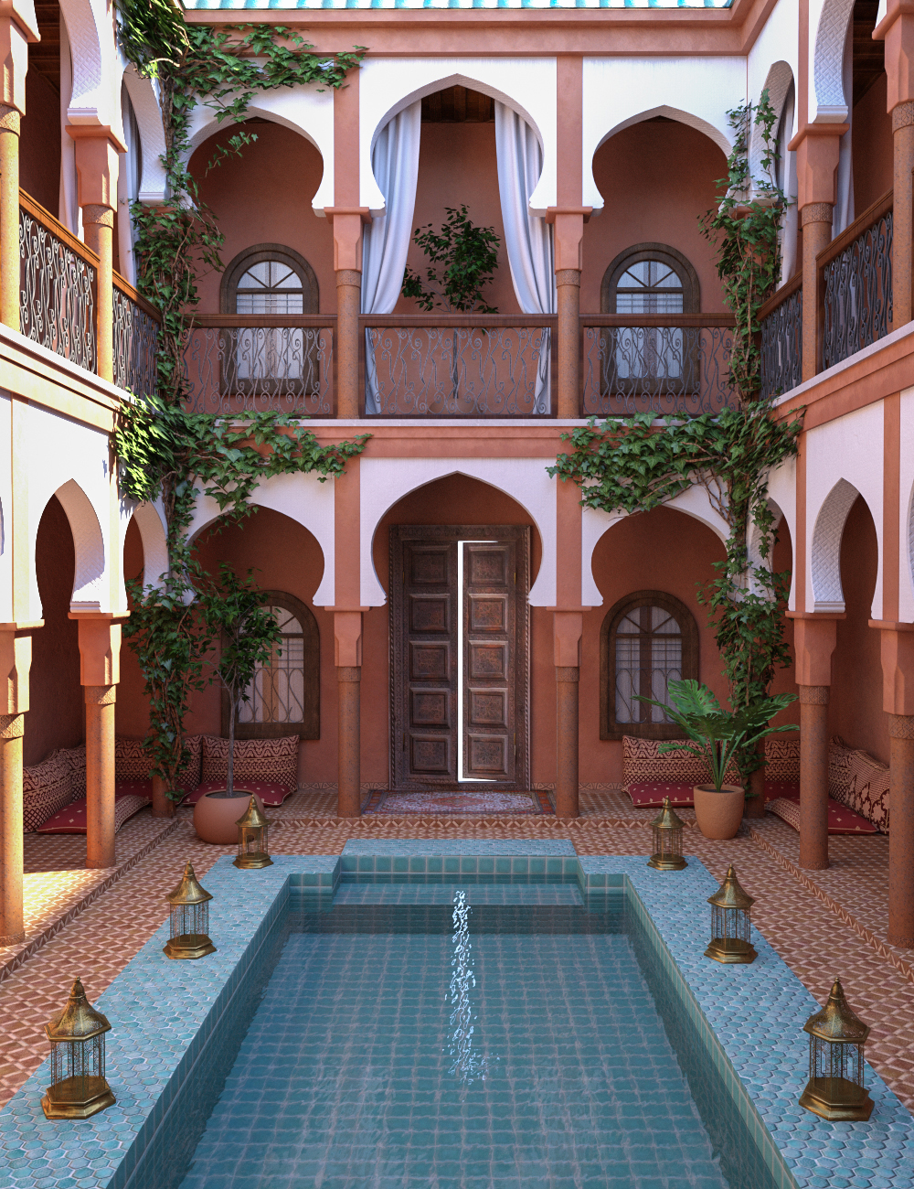 Moroccan Courtyard Place by: 3dLab, 3D Models by Daz 3D