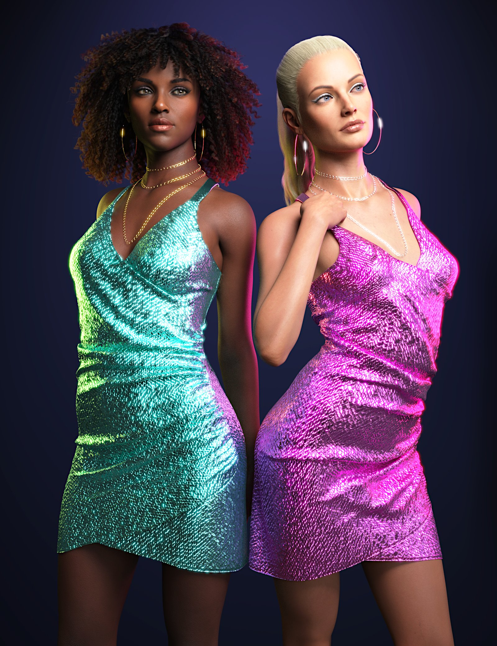 dForce Sparkling Party Dress for Genesis 8 and 8.1 Females by: Toyen, 3D Models by Daz 3D