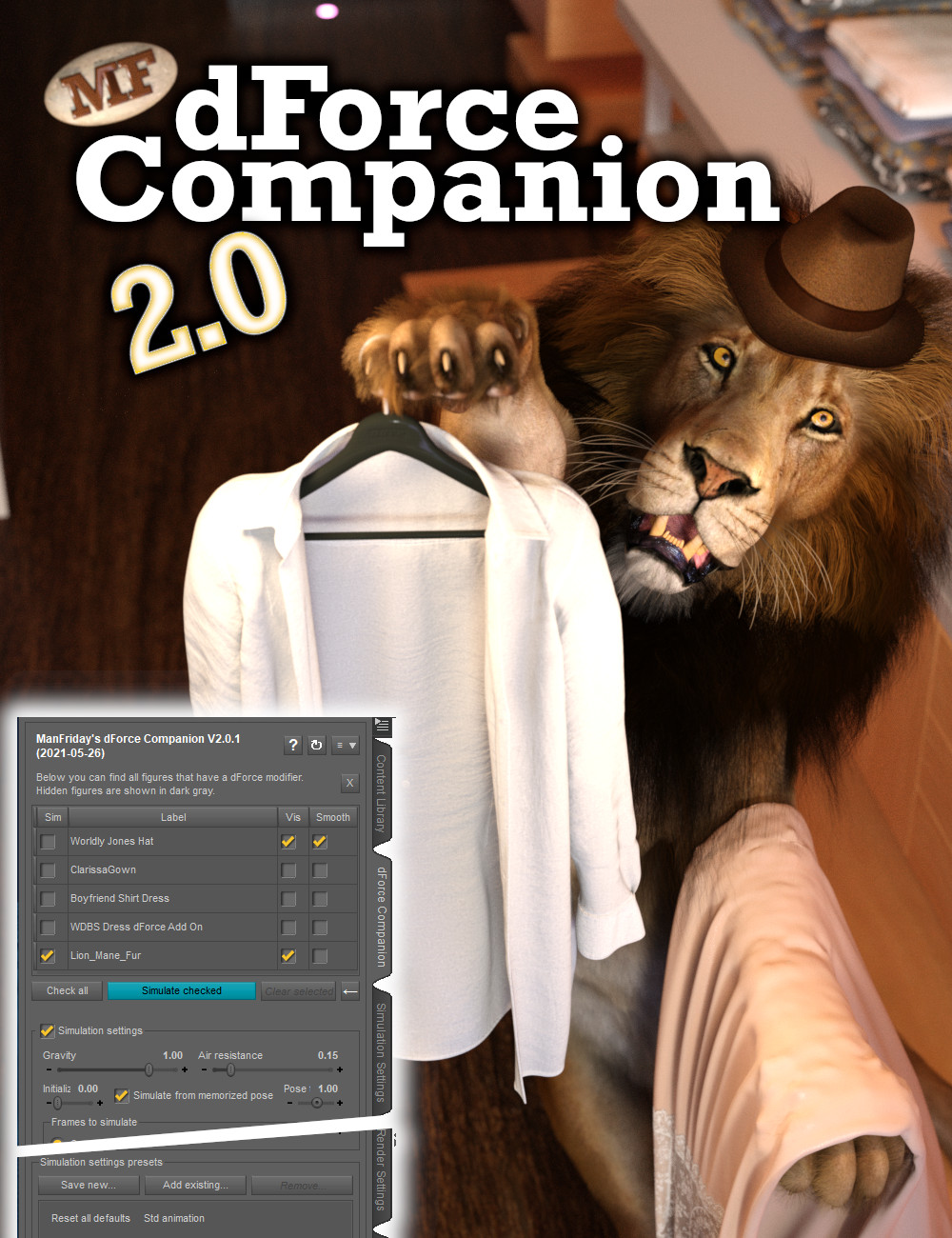 dForce Companion 2.0 by: ManFriday, 3D Models by Daz 3D