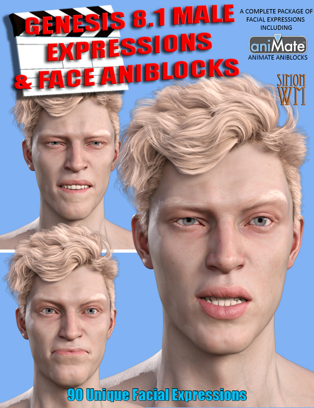 Expressions and Face aniBlocks for Genesis 8.1 Males by: SimonWM, 3D Models by Daz 3D