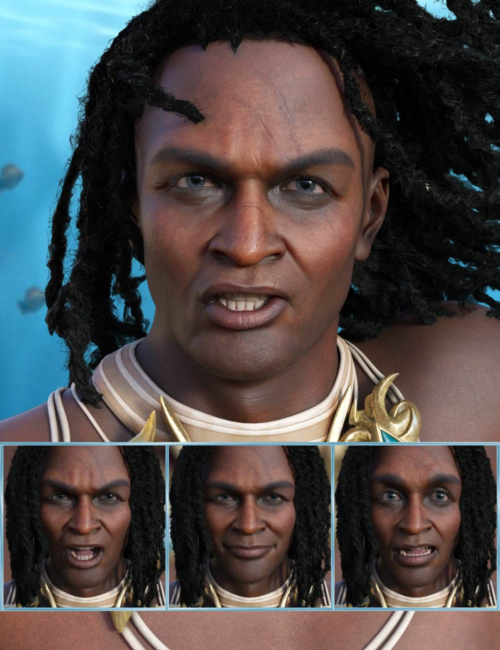 Sea King - Expressions for Genesis 8.1 Male and Zale 8.1 by: JWolf, 3D Models by Daz 3D