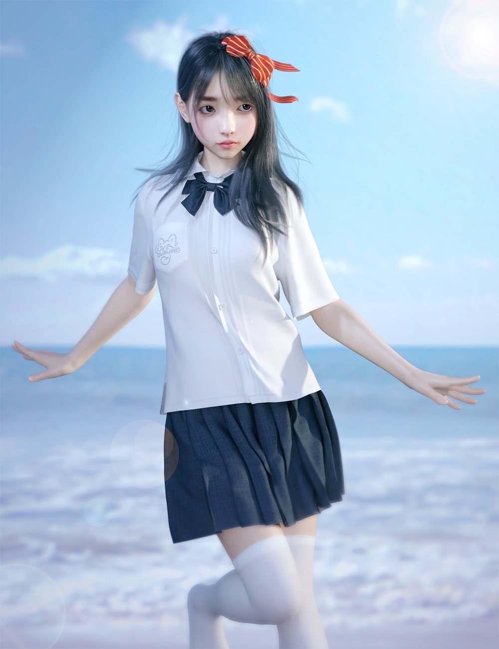 dForce Sue Yee School Uniform for Genesis 8 and 8.1 Females by: Sue Yee, 3D Models by Daz 3D