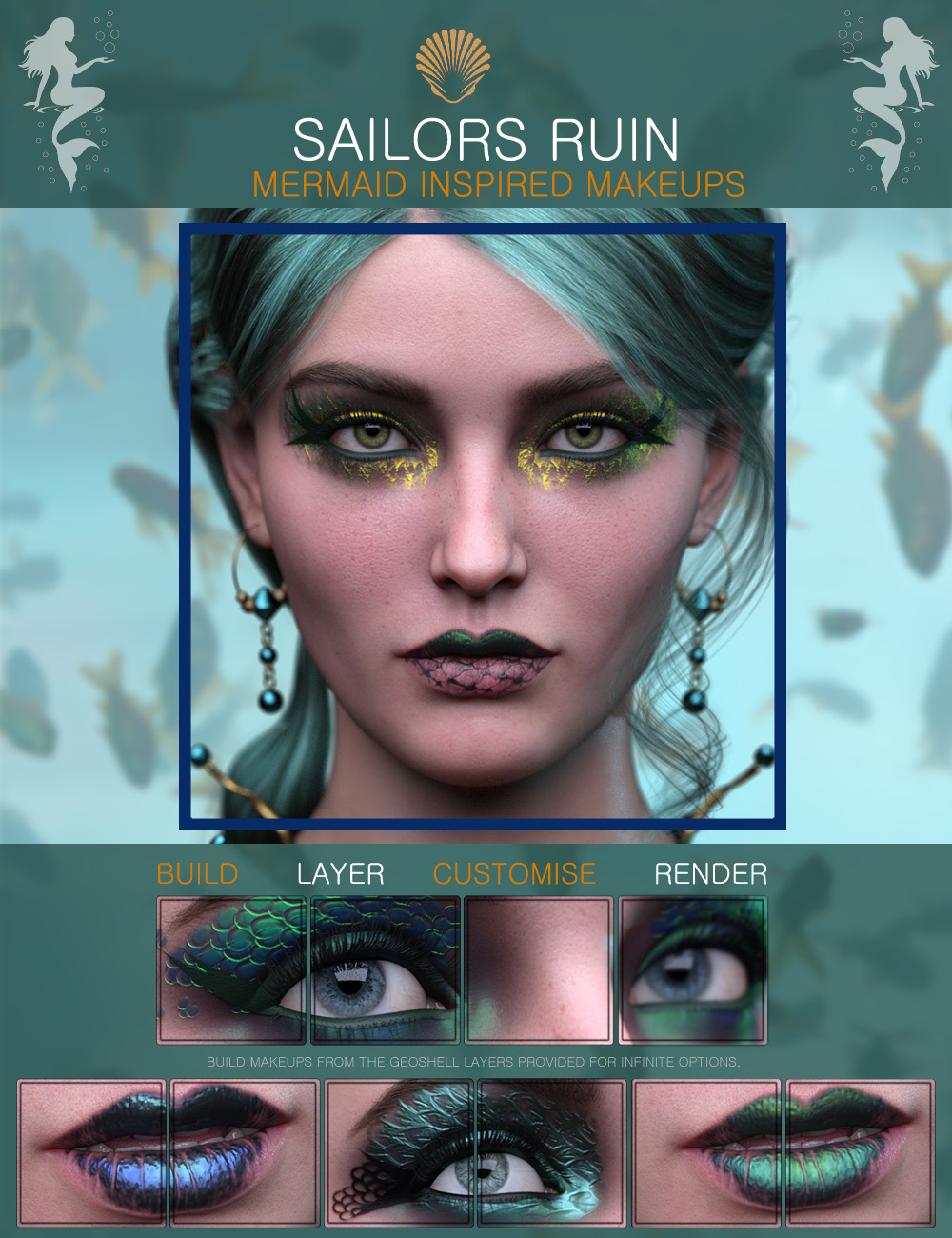 Sailors Ruin Mermaid-Inspired Geoshell Makeup for Genesis 3 and 8 Female by: ForbiddenWhispers, 3D Models by Daz 3D