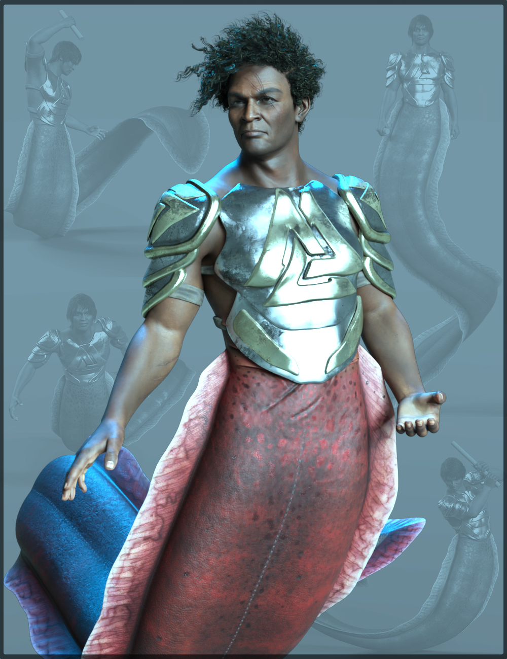 Ocean Warrior Poses for Zale 8.1 and Genesis 8.1 Males by: Quixotry, 3D Models by Daz 3D