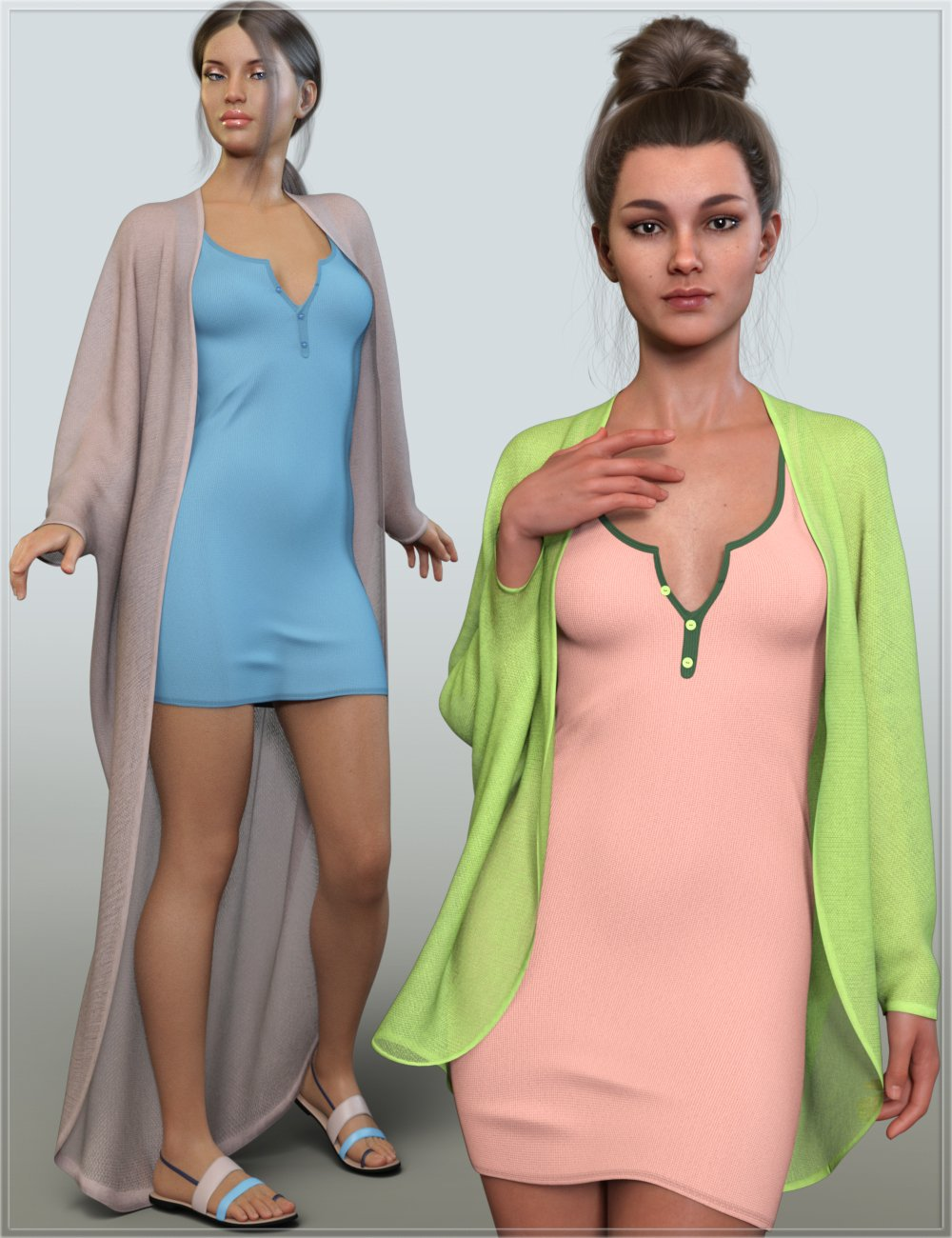 dForce Casual Summer Outfit for Genesis 8 and 8.1 Females by: Nikisatez, 3D Models by Daz 3D