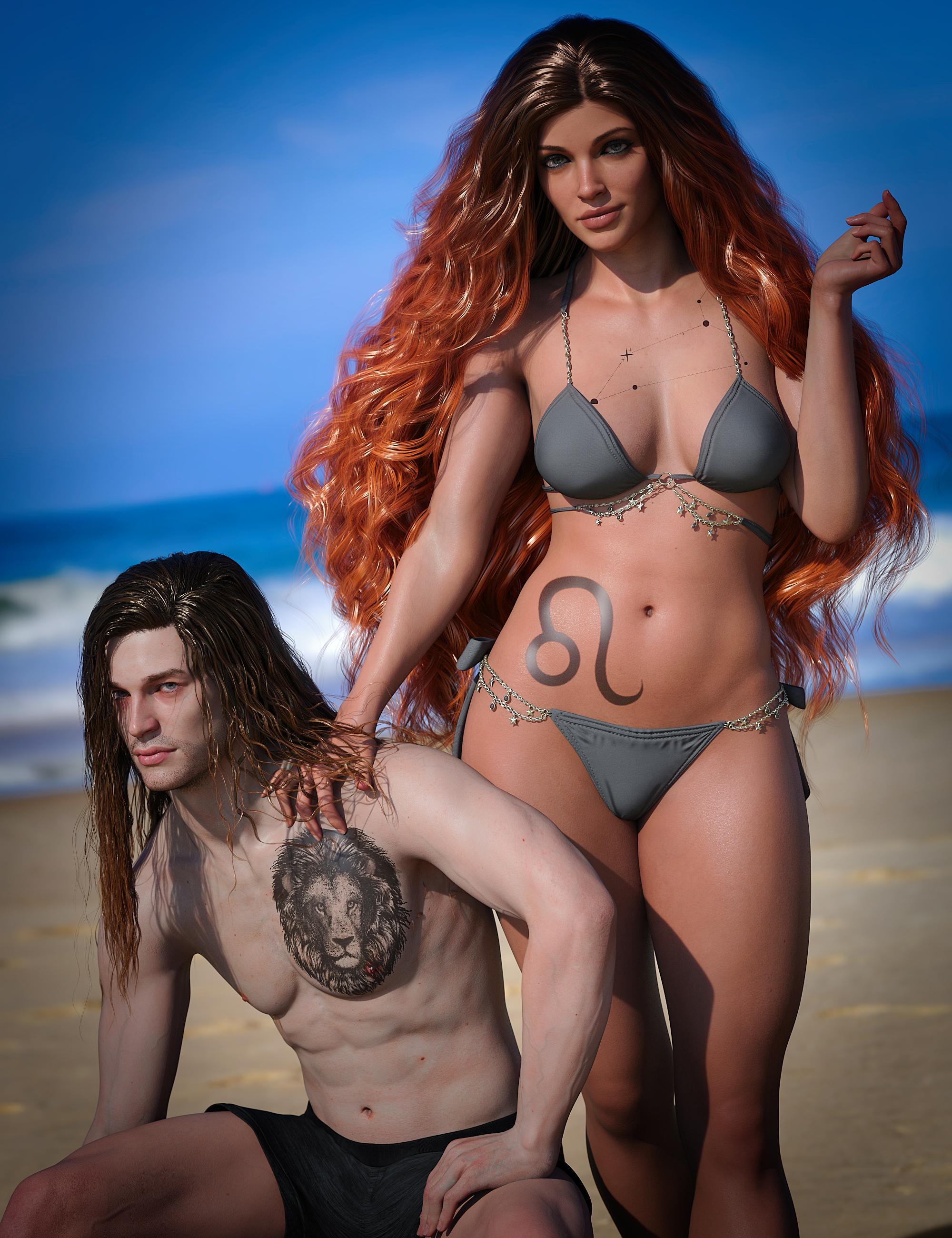 Leo Zodiac Tattoo for Genesis 8.1 by: SR3, 3D Models by Daz 3D