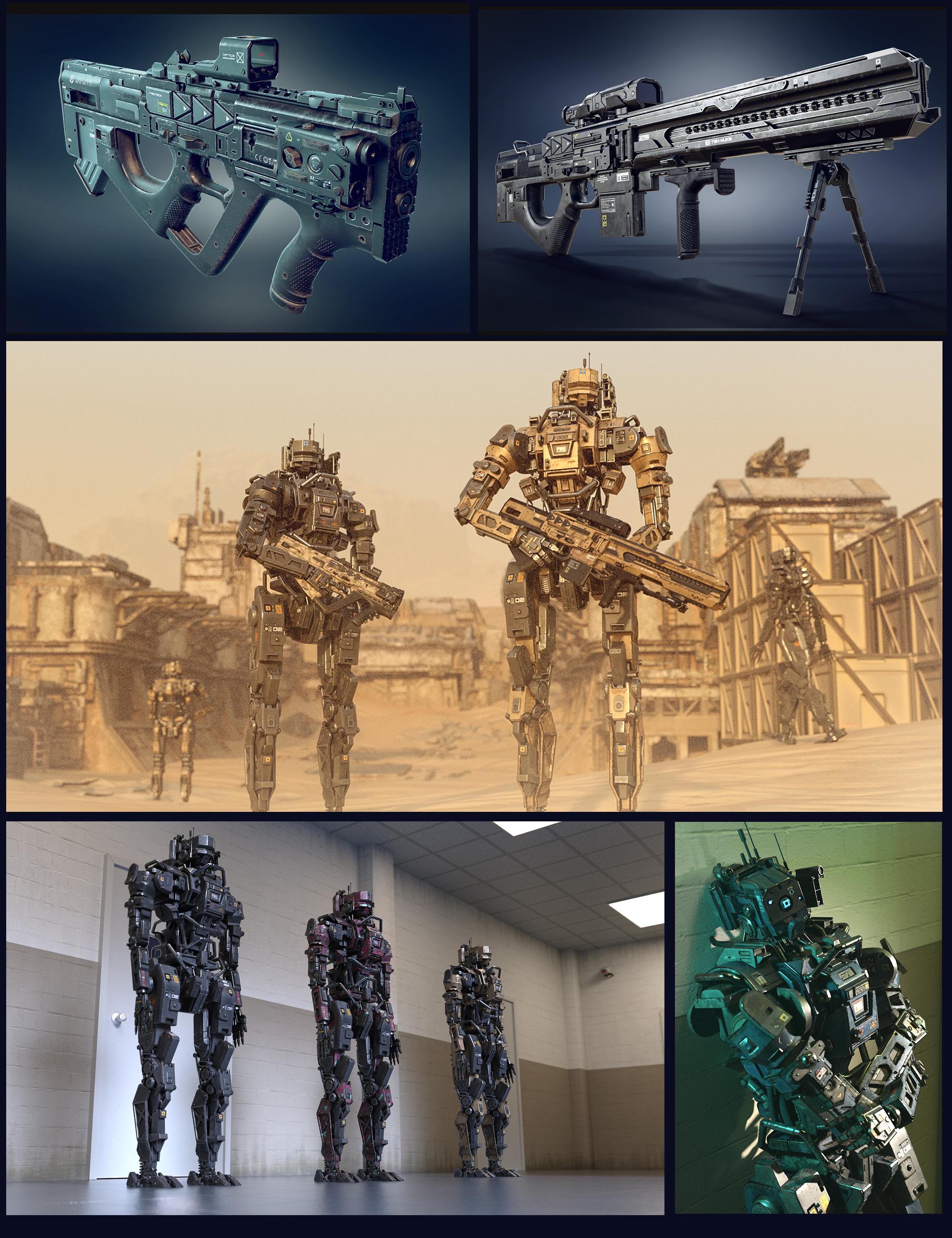 Cyberpunk MEC Droid and Weapons Bundle by: Polish, 3D Models by Daz 3D