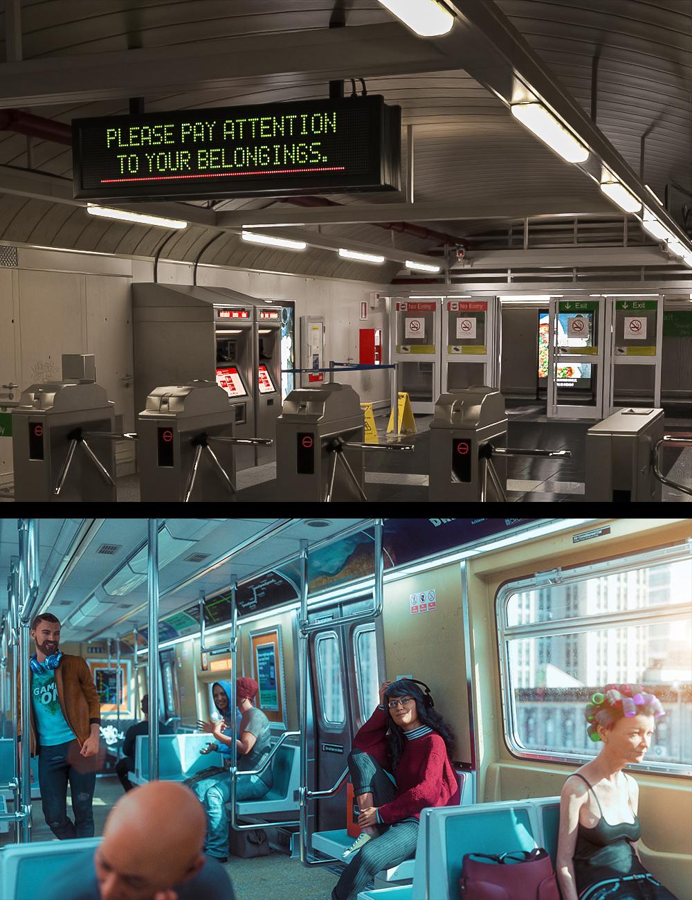 Morning Subway Commute Bundle by: , 3D Models by Daz 3D
