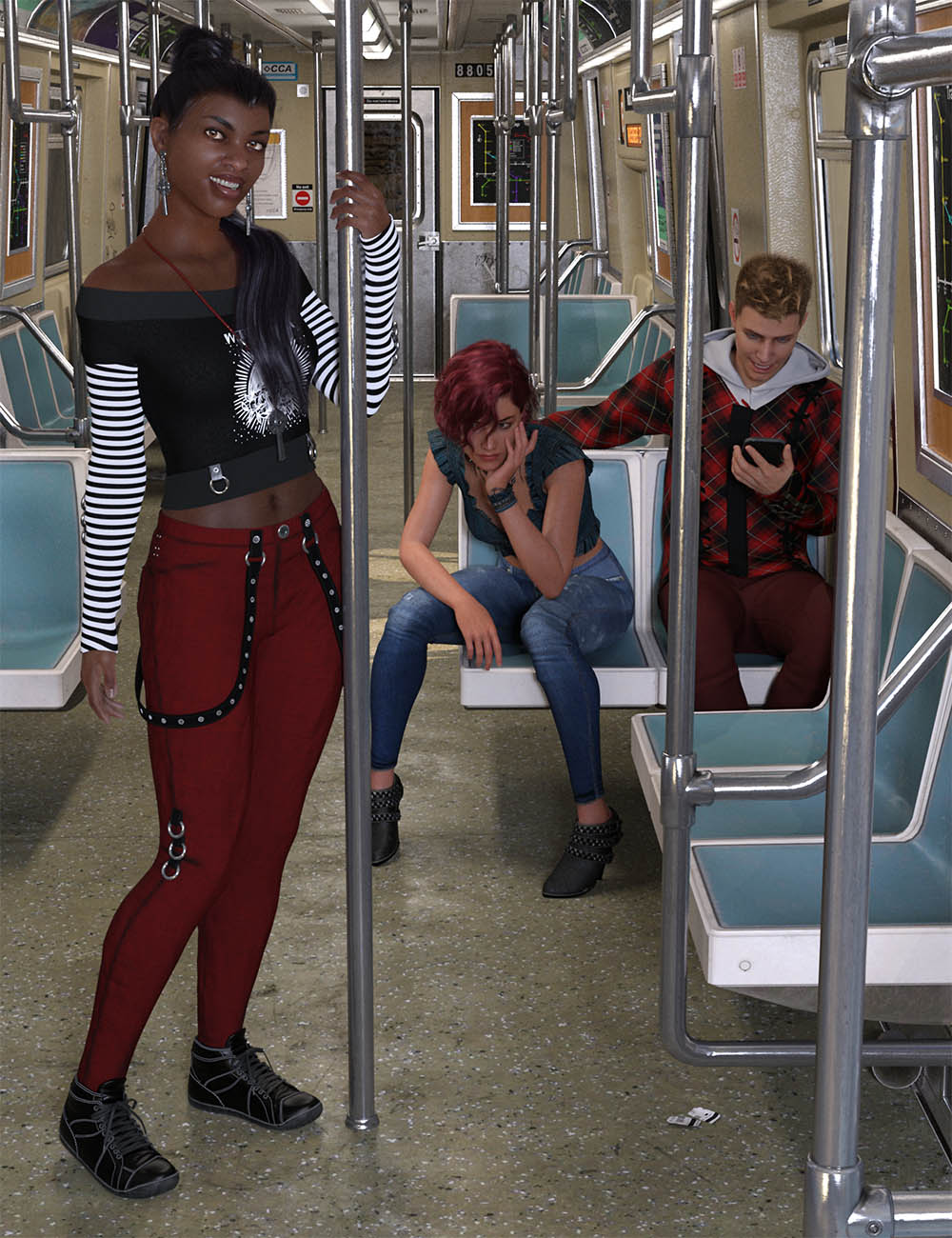 CDI Subway Poses for Genesis 8.1 by: Capsces Digital Ink, 3D Models by Daz 3D