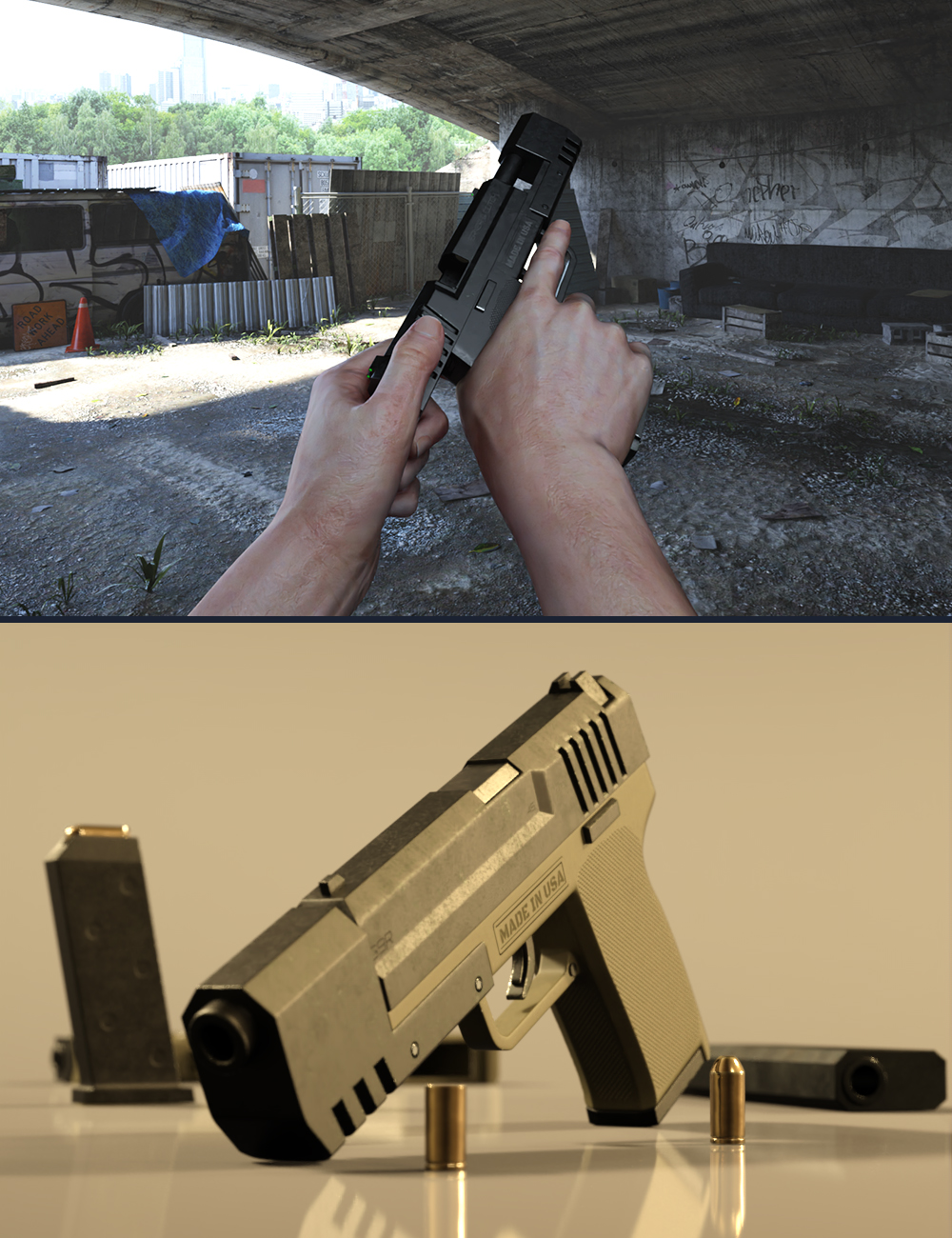 KACC G9R Pistol and Poses for Genesis 8 by: KindredArts, 3D Models by Daz 3D