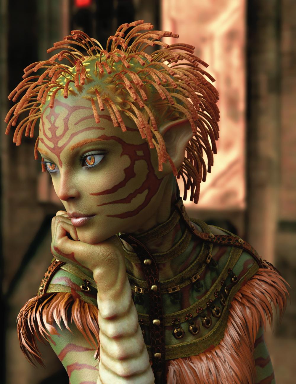 Alien Styles Hair for Genesis 8 Females by: 3Diva, 3D Models by Daz 3D