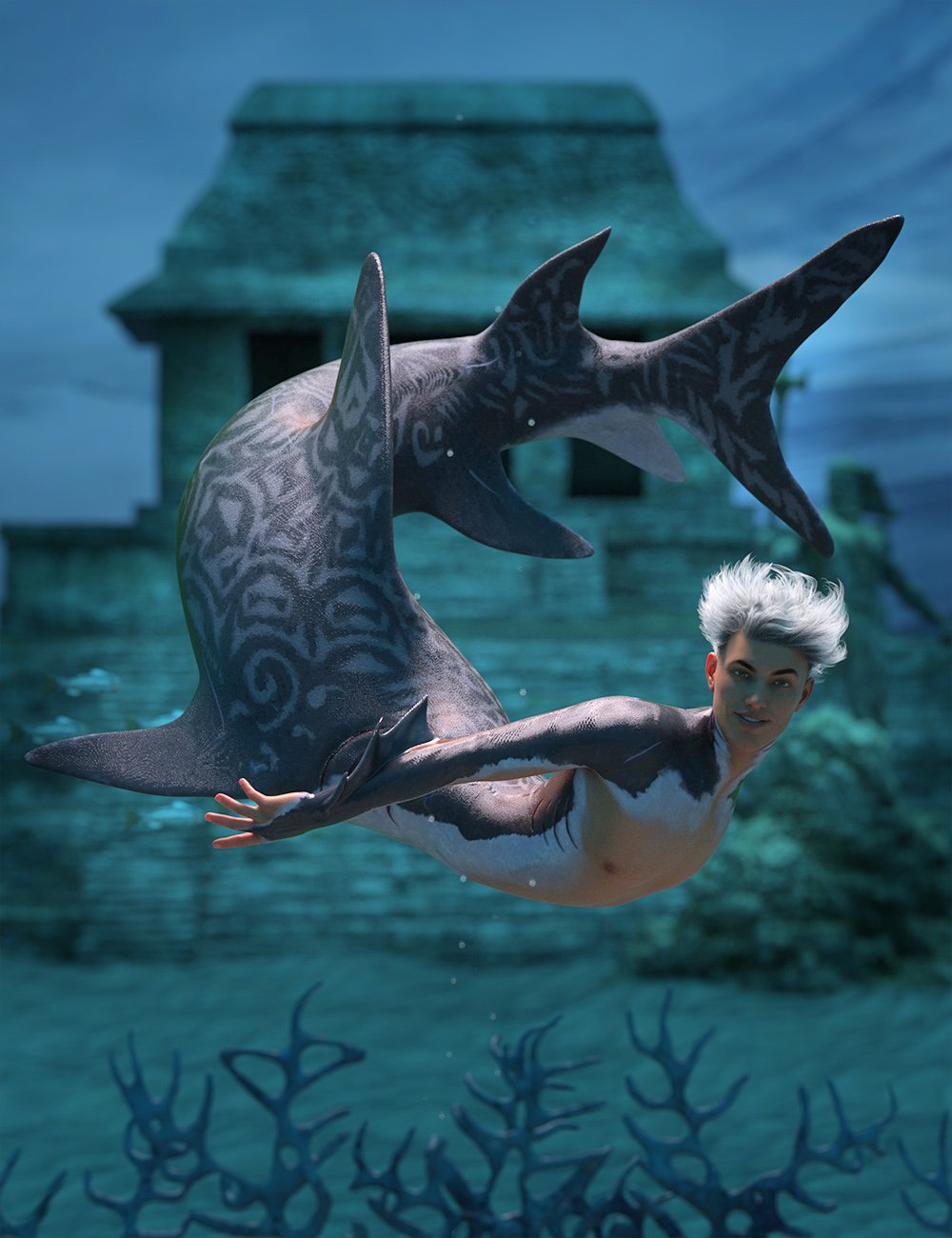 Shark Boy Hierarchical Poses for Genesis 8 Male and FPE Shark Tail by: Ensary, 3D Models by Daz 3D