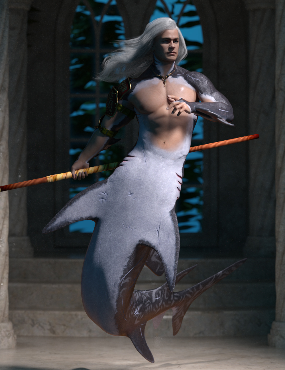 Scarred Hierarchical Poses for Genesis 8 Male and FPE Shark Tail by: Ensary, 3D Models by Daz 3D