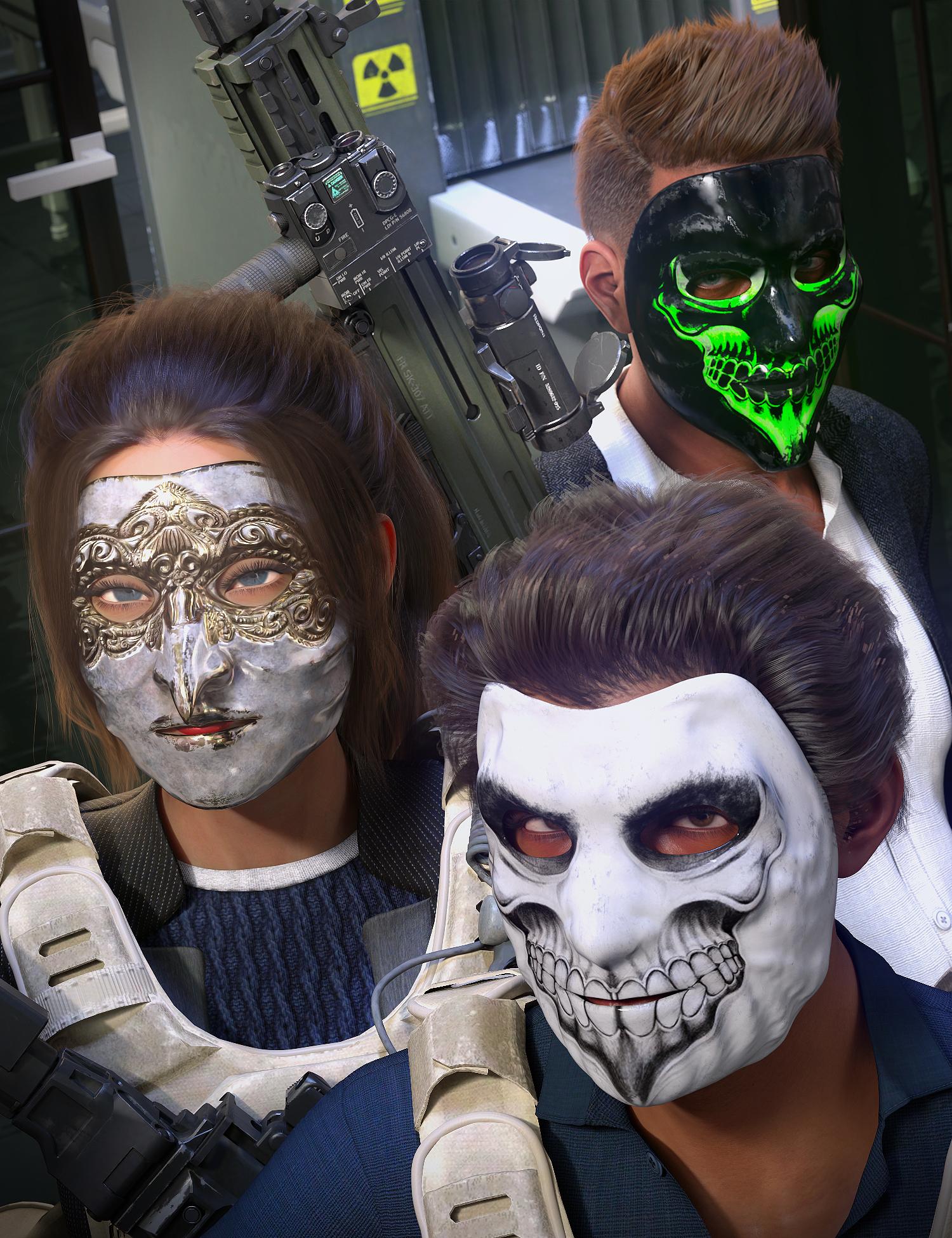 Morphing Heist Masks for Genesis 8.1 by: ArkiShox-Design, 3D Models by Daz 3D