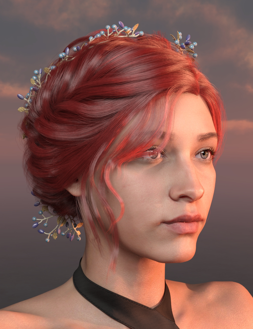 Lu Hair for Genesis 8 and 8.1 Females by: Ergou, 3D Models by Daz 3D