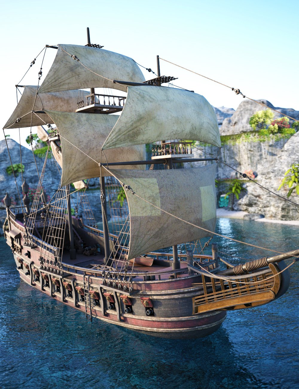 Tartarean Pirate Ship by: Charlie, 3D Models by Daz 3D